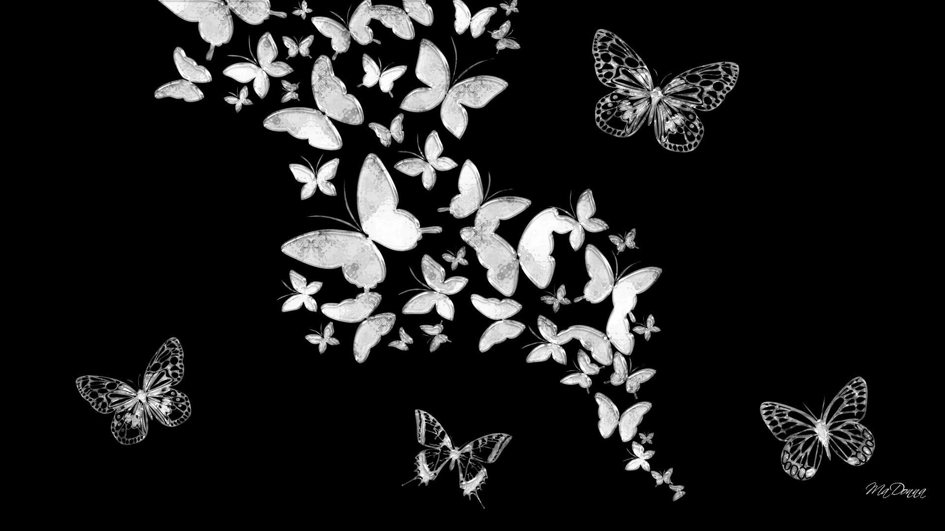 Black Abstract Gold Jewels Butterfly …