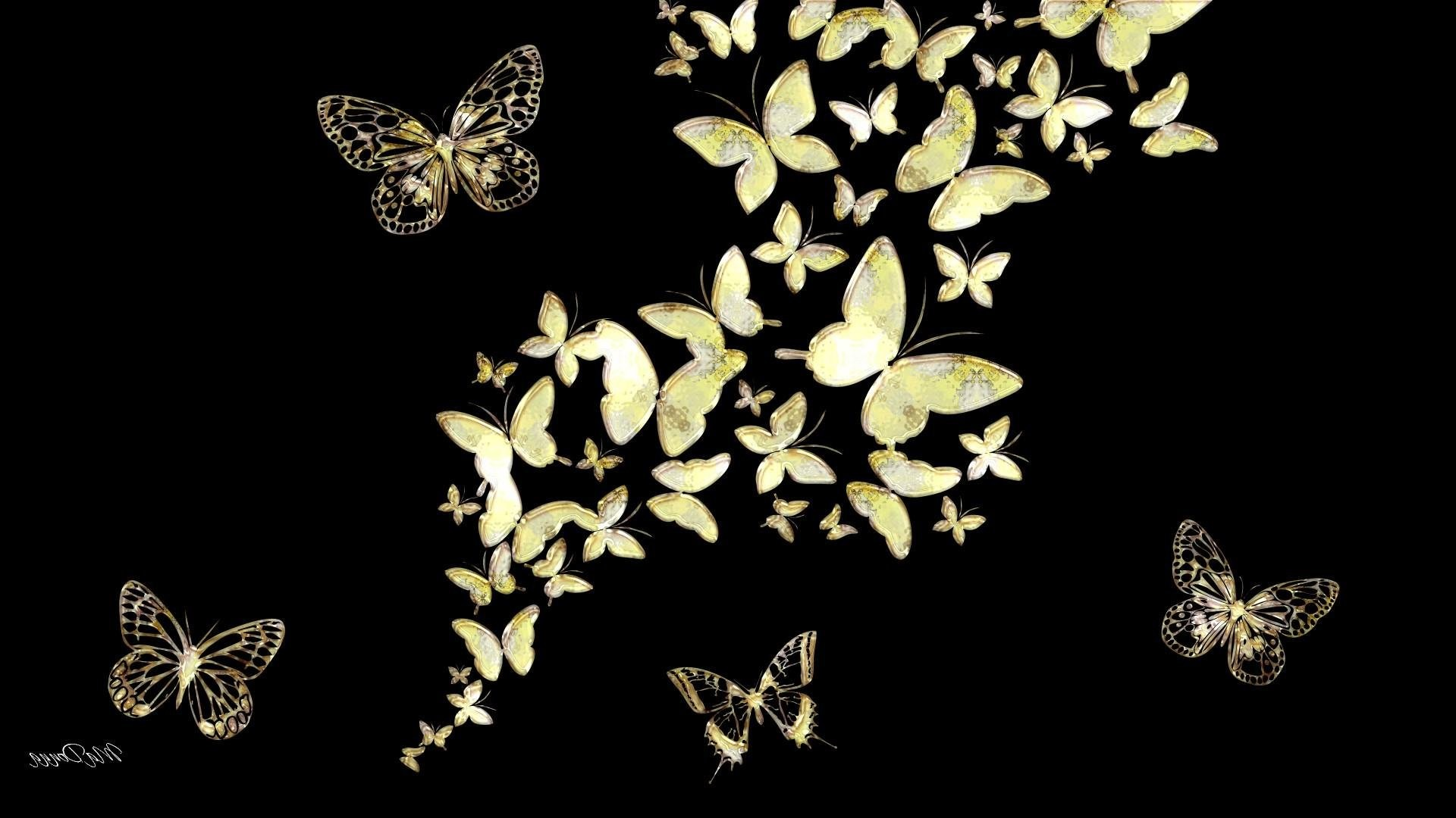 Black Abstract Gold Jewels Butterfly Mirror …