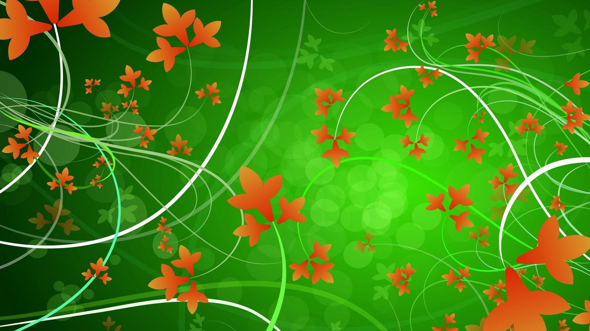 Preview wallpaper green, orange, flowers, patterns, leaves 1920×1080