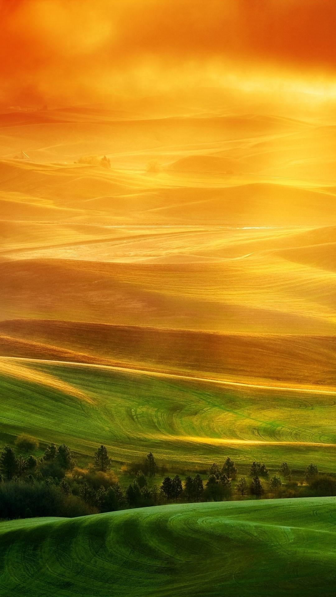 Wallpaper xiaomi mi3 mi4 full hd 1080 1920 green hills orange sky