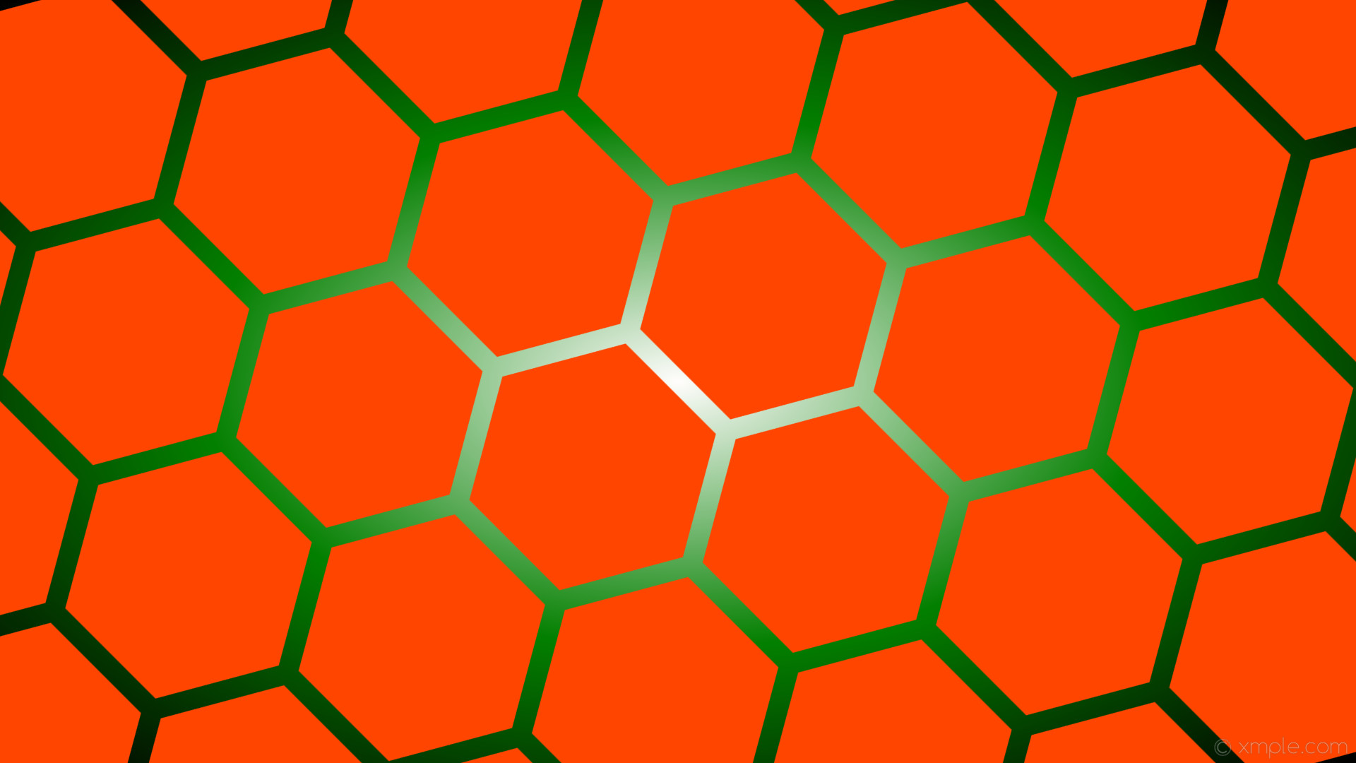 wallpaper hexagon glow gradient green white orange black orangered #ff4500  #ffffff #008000 diagonal