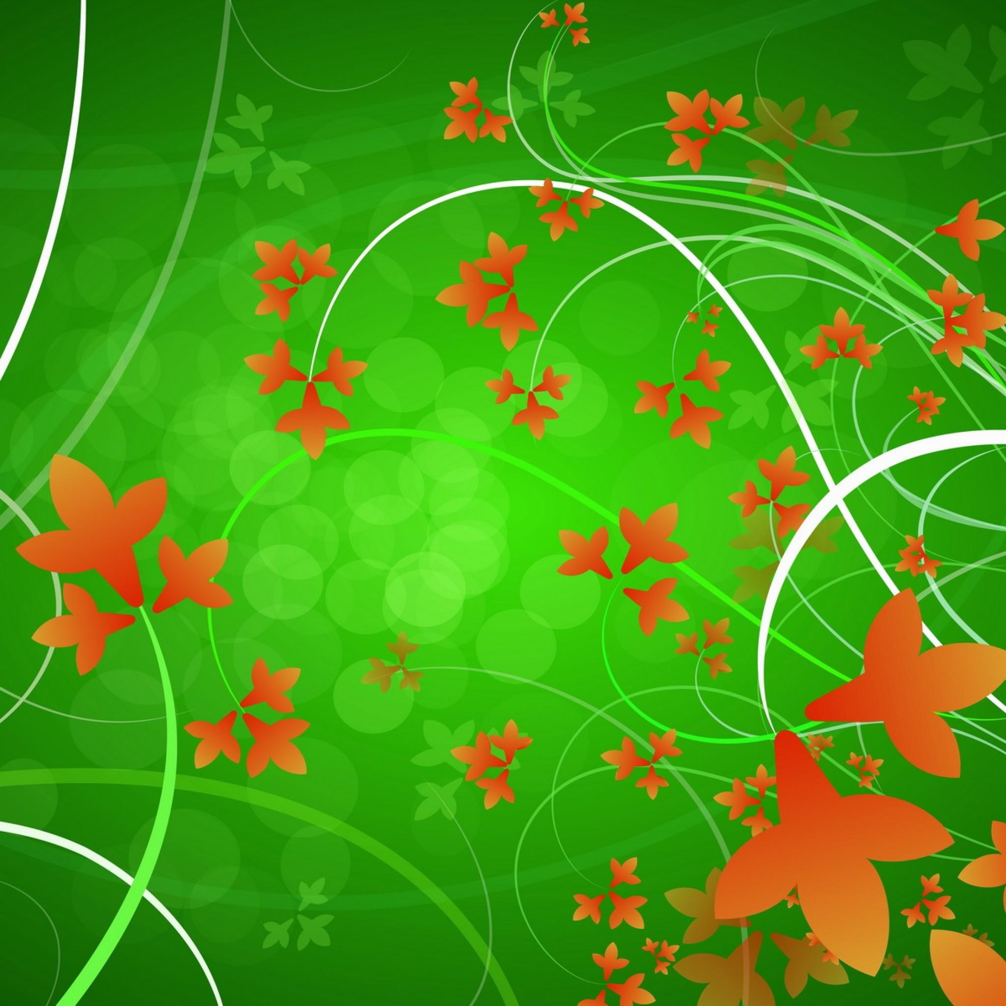 Wallpaper green, orange, flowers, patterns, leaves
