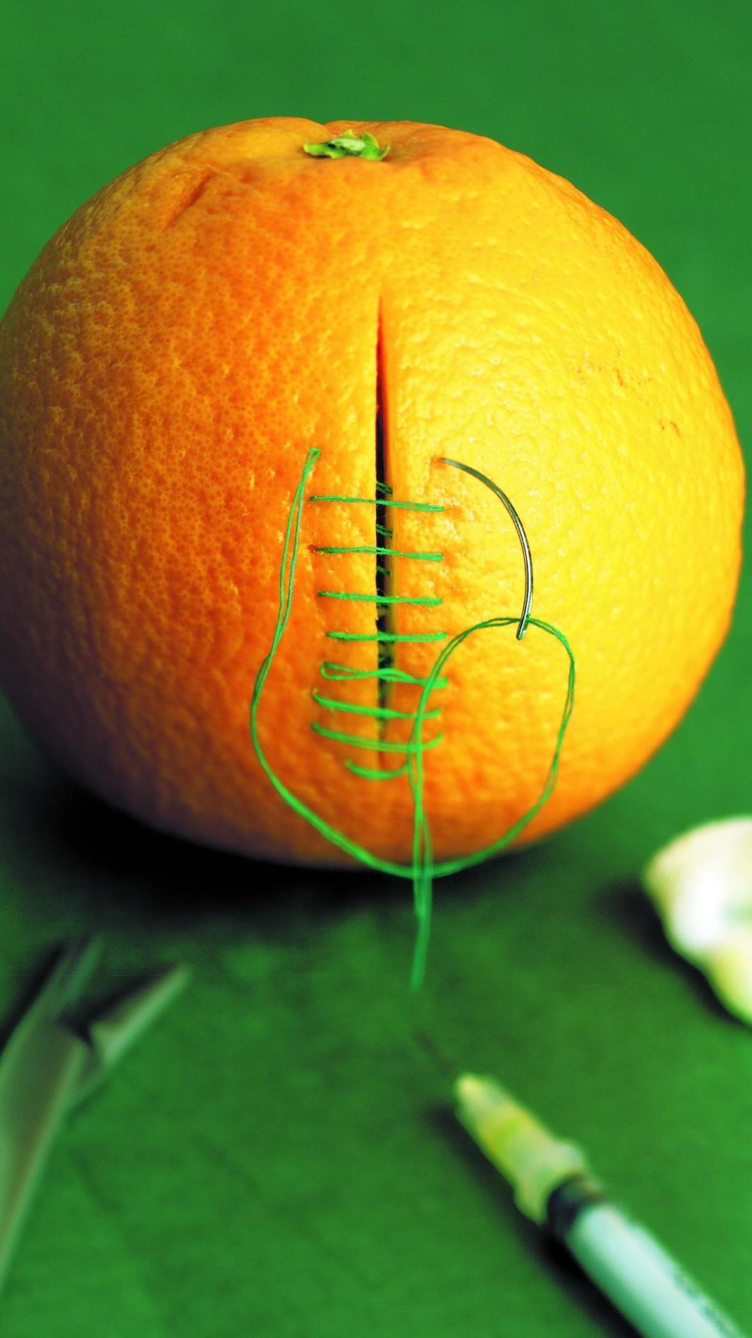 Wallpaper orange, cutting, sewing, stitching, green background