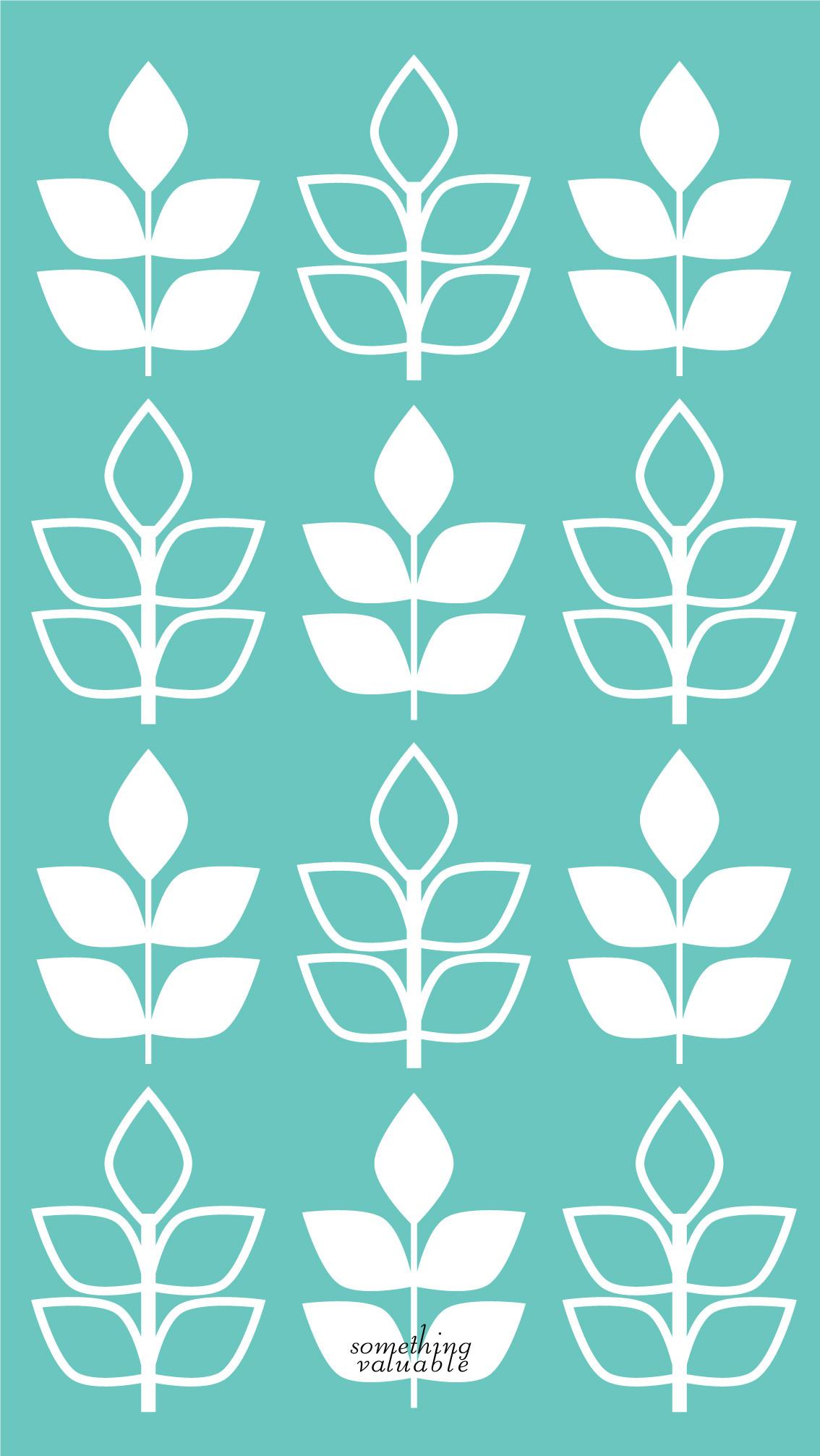 iPhone wallpaper design •SPRING LEAF MINT ver. •
