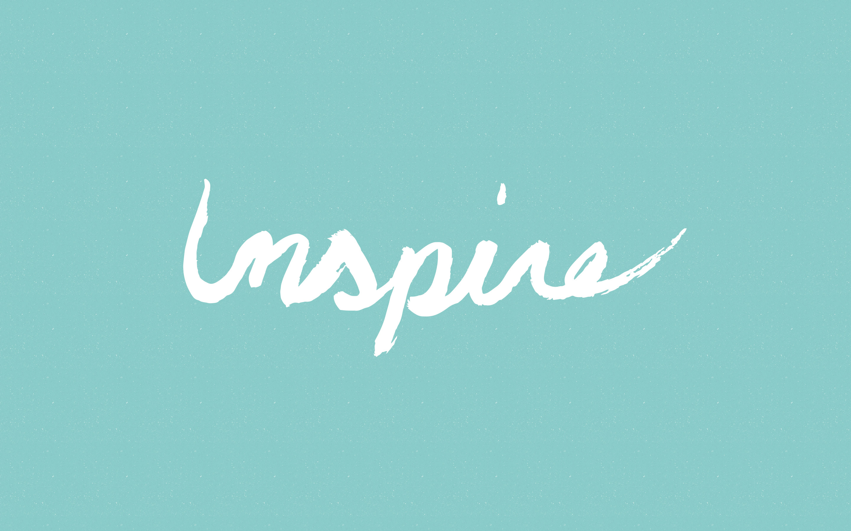 Mint aqua white Inspire desktop wallpaper background