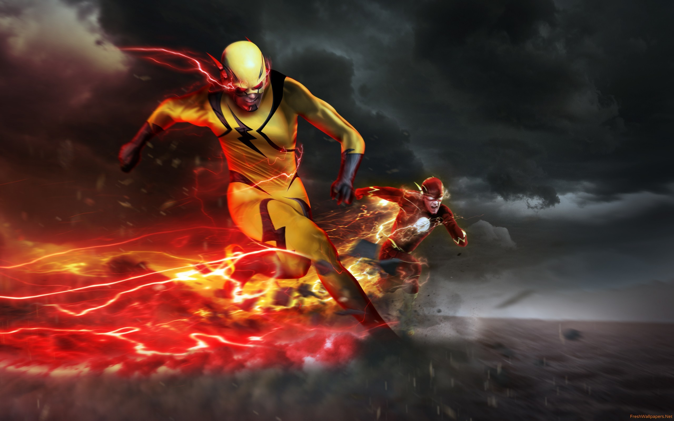 The Flash Season 3 The Flash Vs Eobard Thawne Wallpaper 05328
