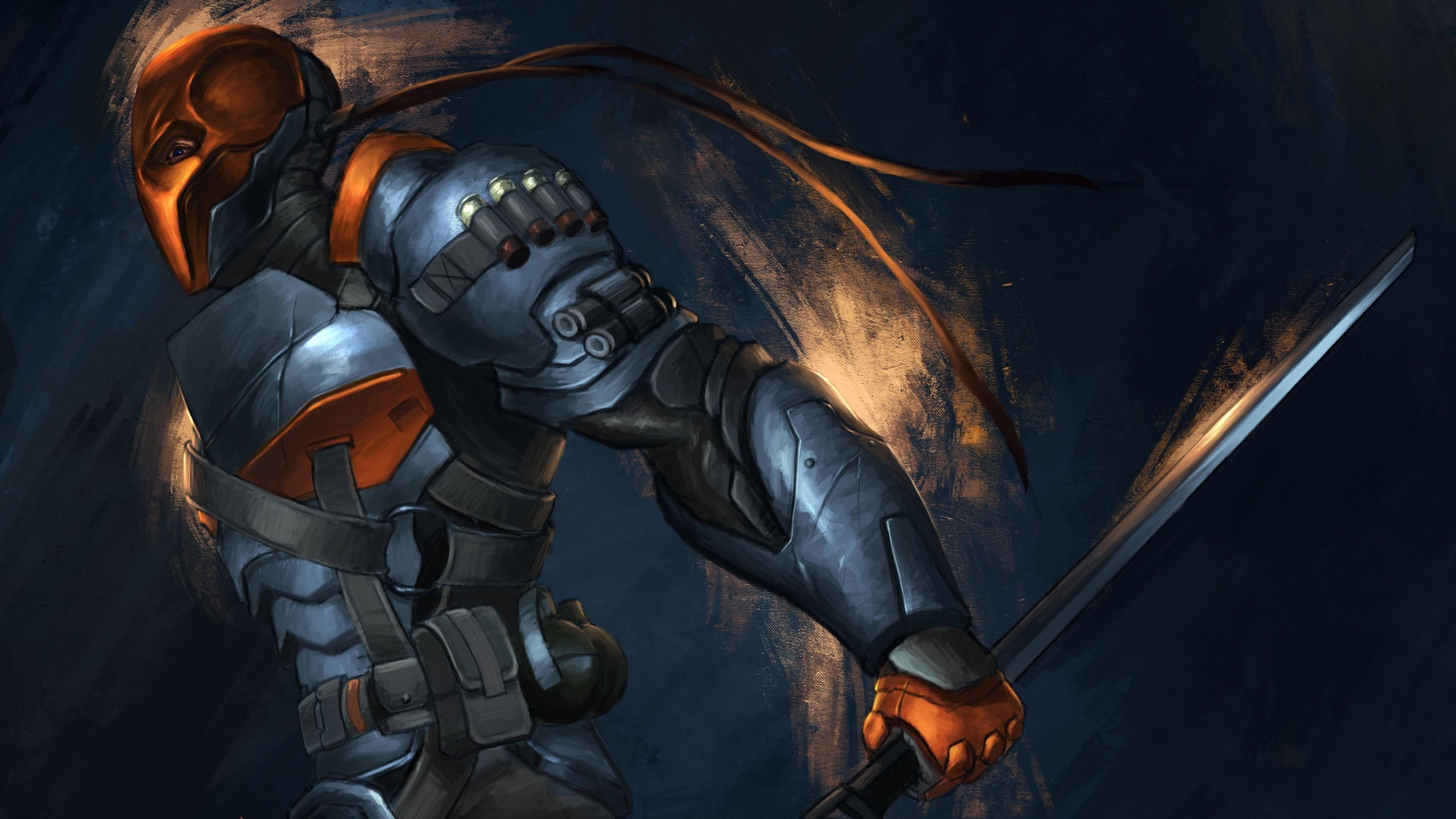 Preview wallpaper batman, arkham origins, deathstroke, sword, armor, art  3840×2160