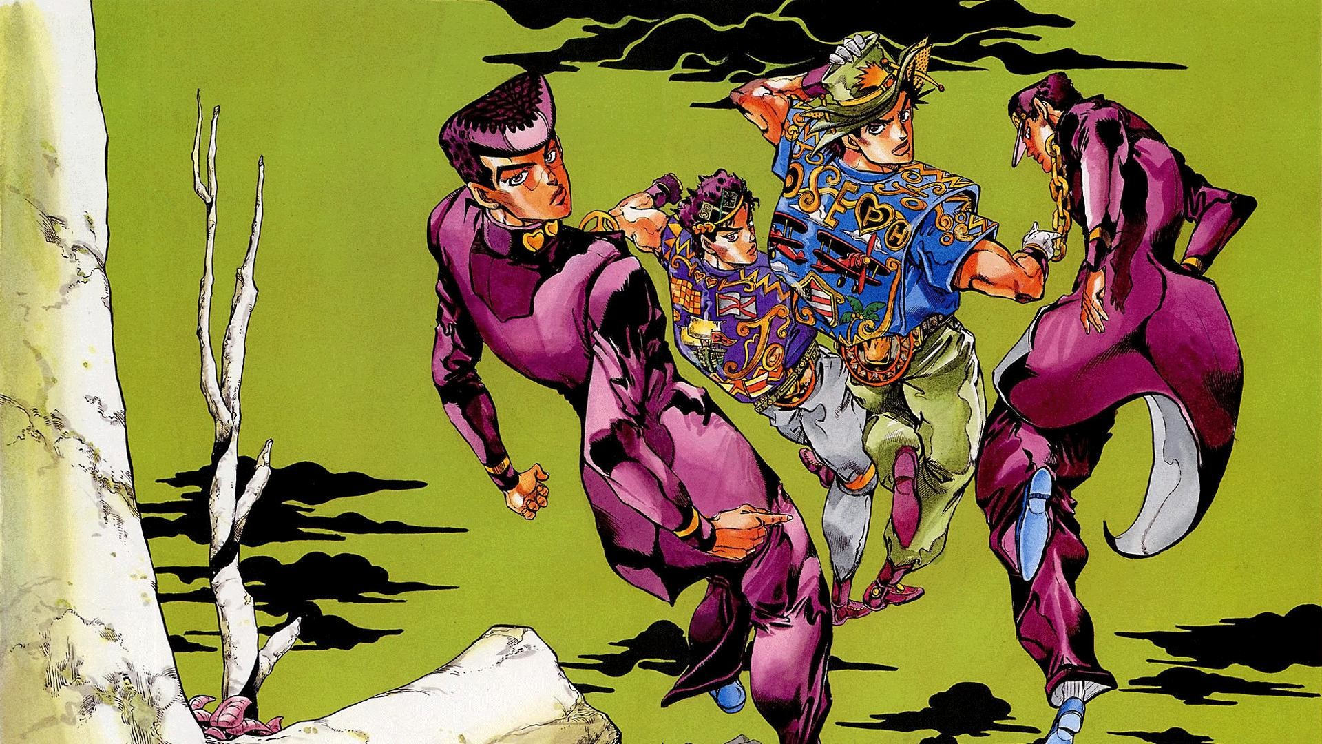 Anime – Jojo's Bizarre Adventure Jonathan Joestar Joseph Joestar Jotaro  Kujo Josuke Higashikata Bakgrund