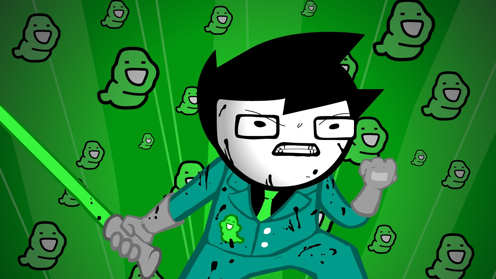 Preview wallpaper green, figure, aggression, style, homestuck 1920×1080