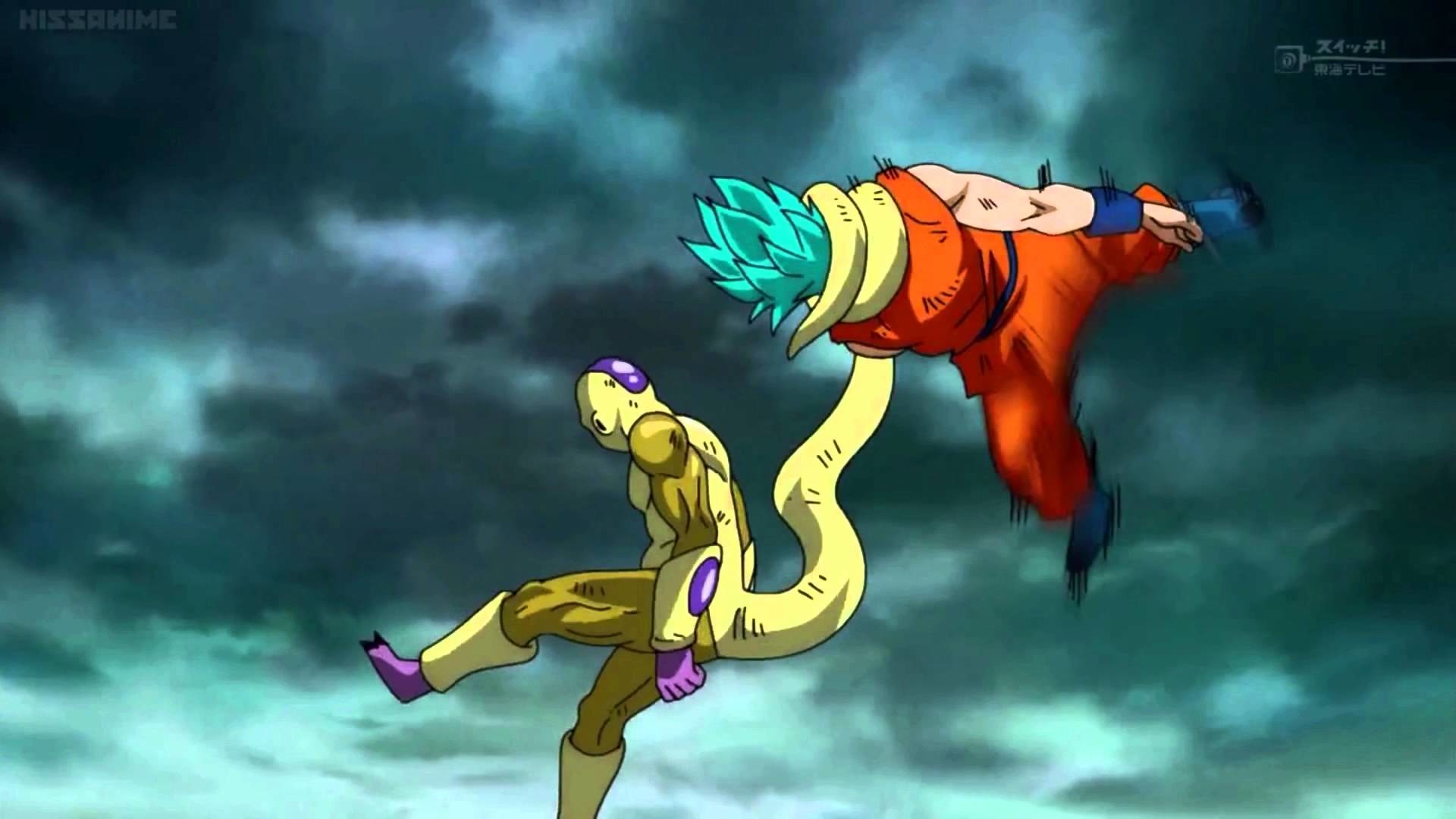 SSGSS Goku bites Golden Freeza's Tail