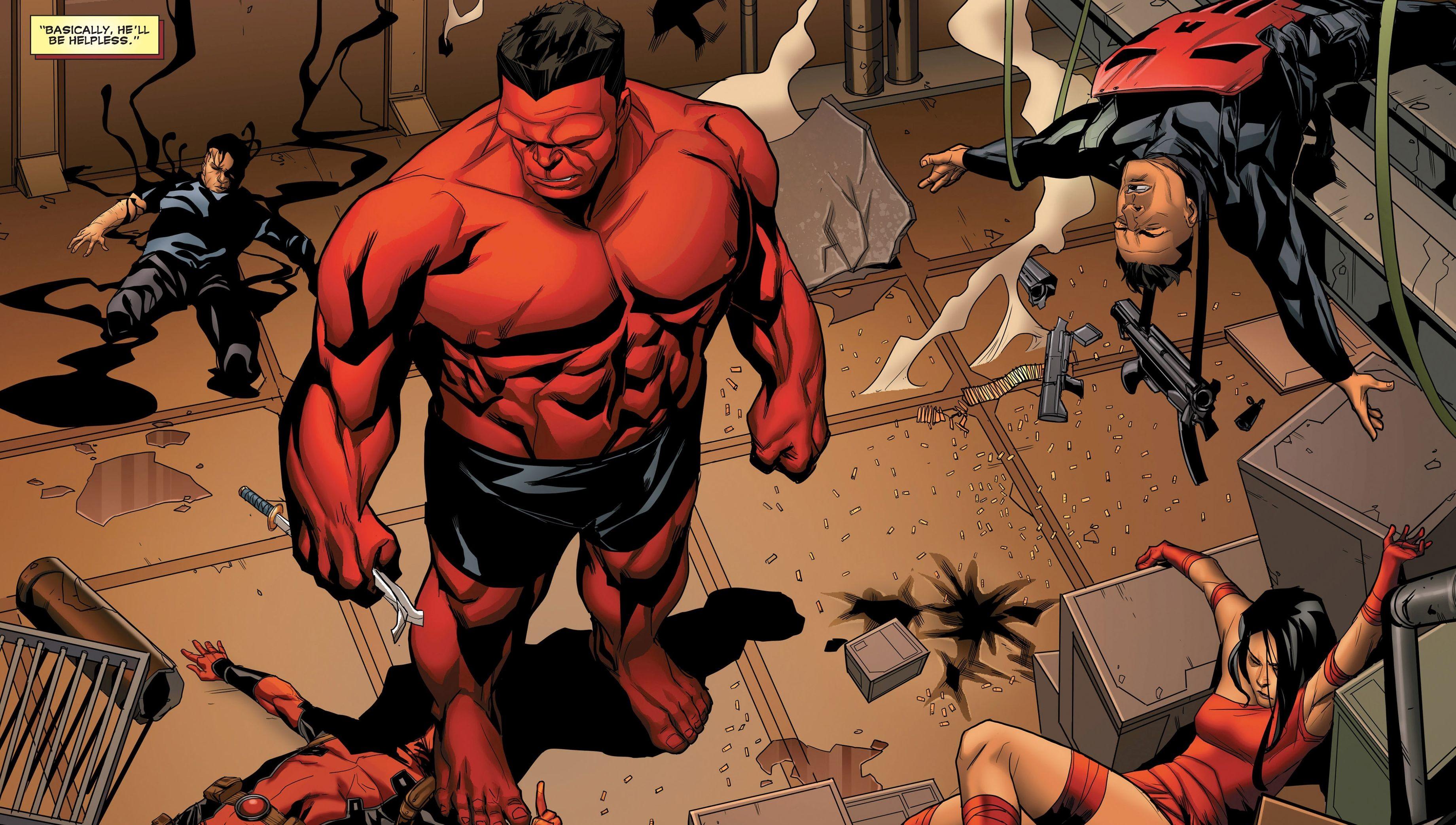 Comics – Thunderbolts Red Hulk Elektra Punisher Deadpool Agent Venom  Wallpaper
