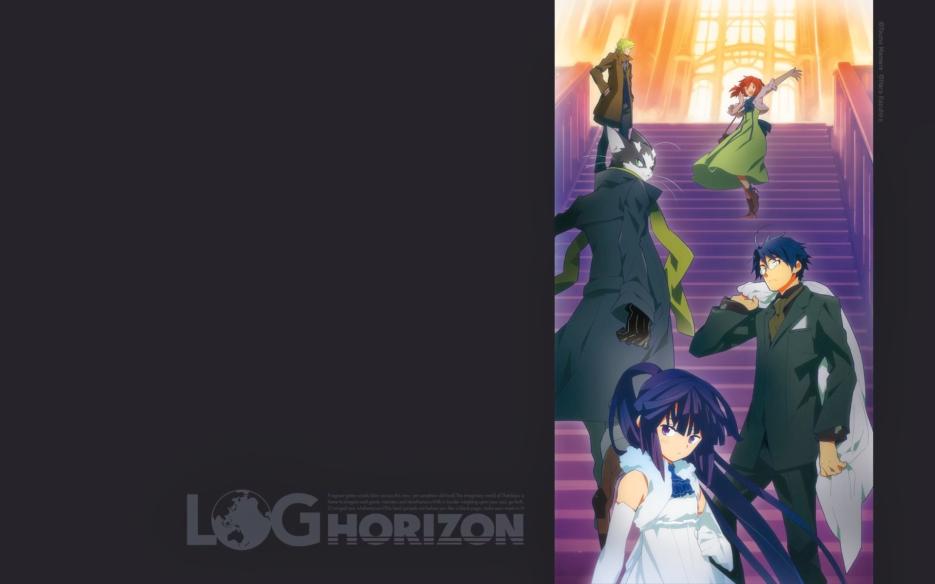 log horizon shiroe akatsuki nyanta anime hd wallpaper 1920×1200
