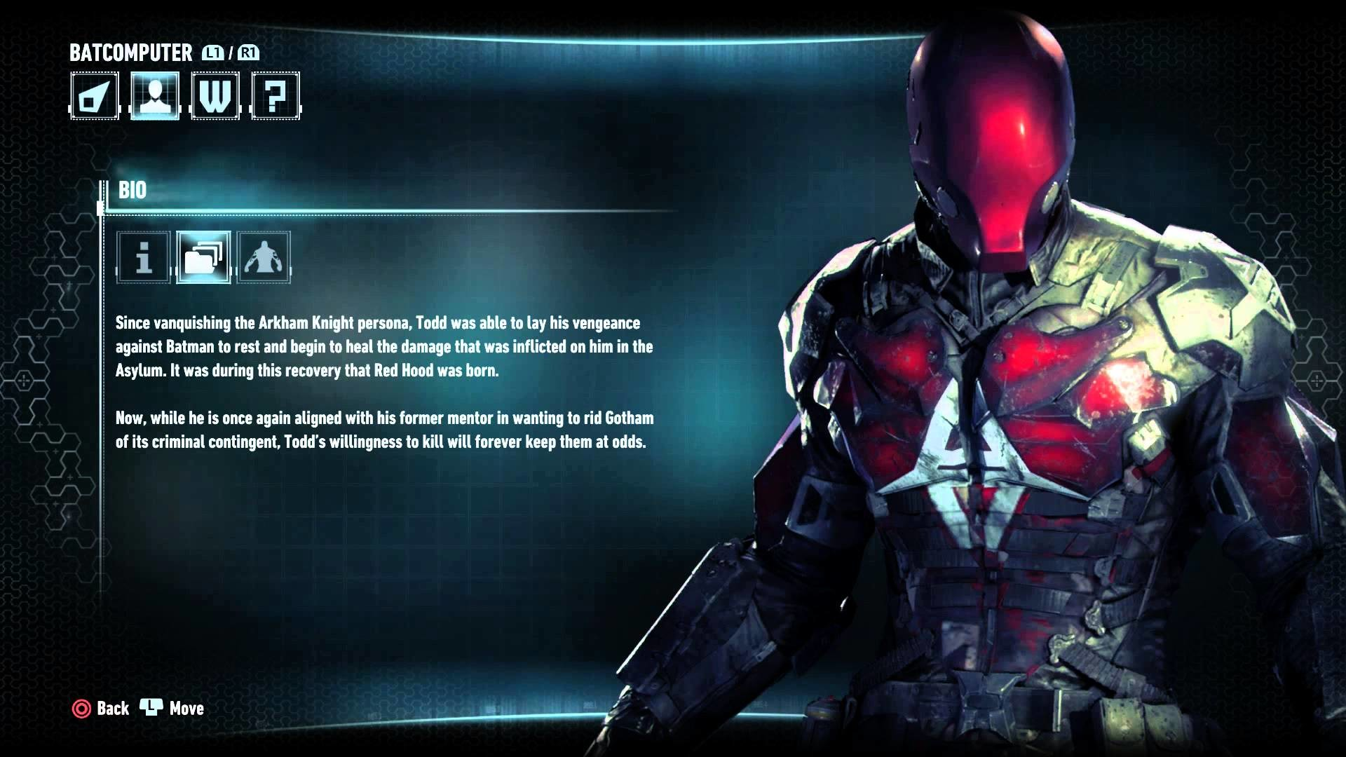 Batman: Arkham Knight – Character Bio Information & Attributes: Red Hood  (Vigilante) Jason Todd PS4