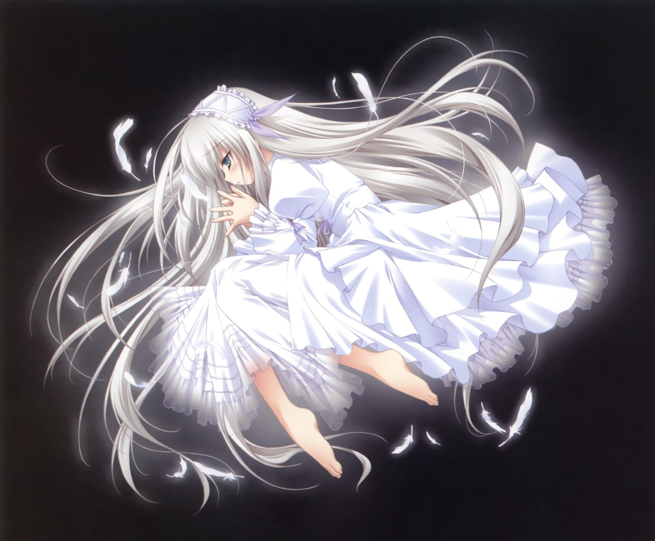 11-Eyes blue eyes dress feathers lisette vertorre long hair white .