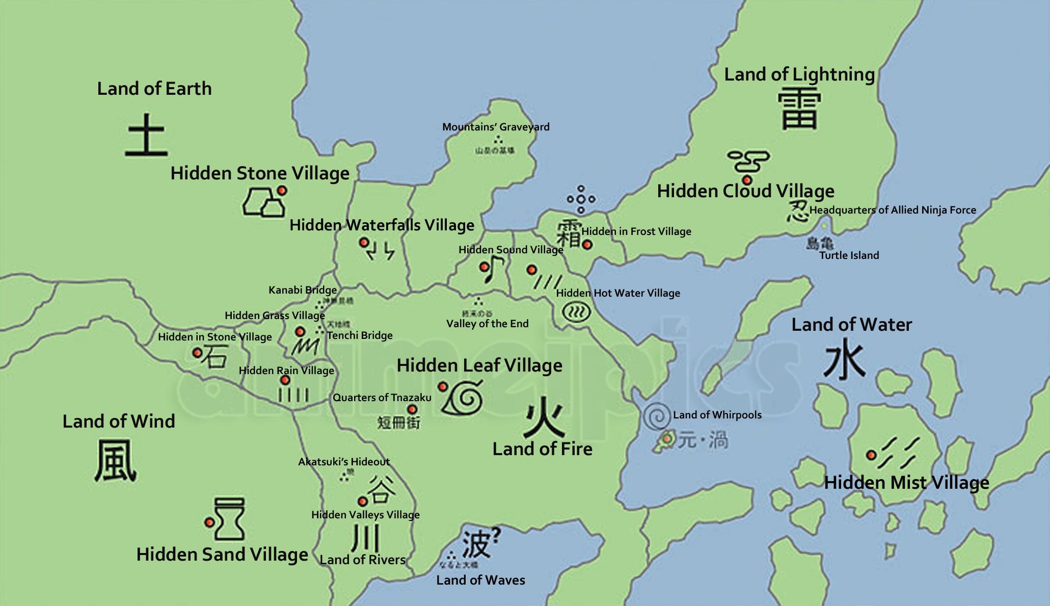Naruto World Map Lands and Hidden Villages