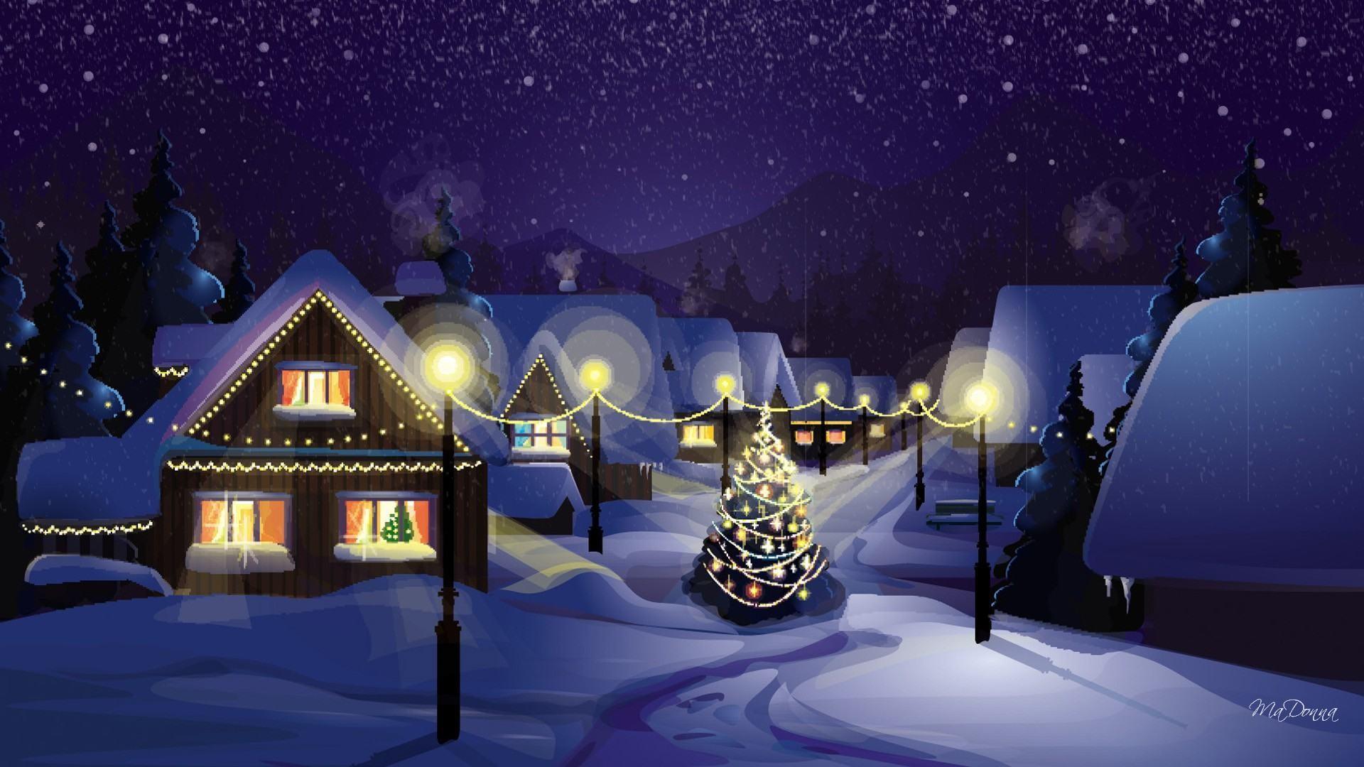 Christmas village wallpaper