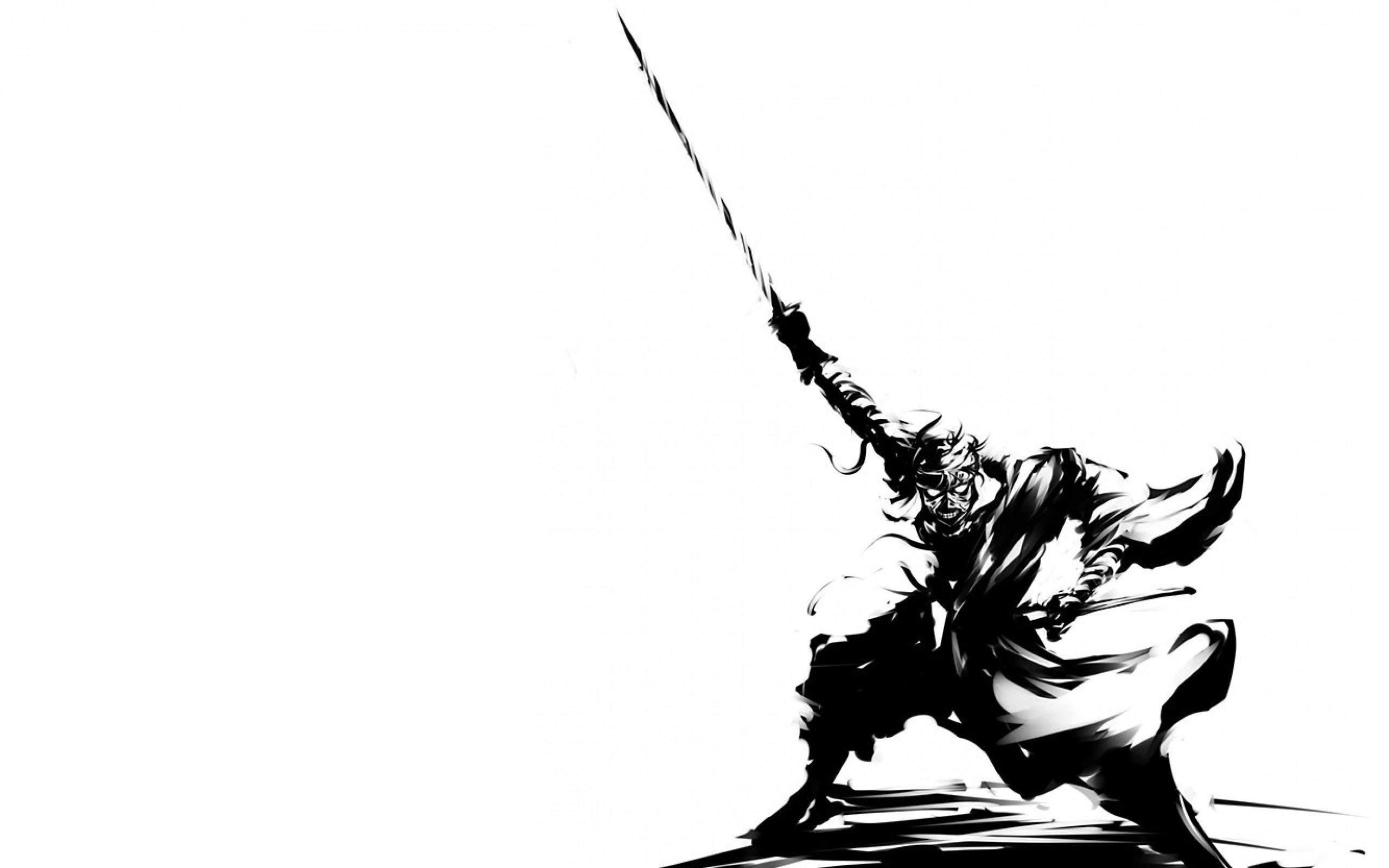 black and white rurouni kenshin samurai mummy grayscale monochrome warriors  anime swords white backg Wallpaper HD