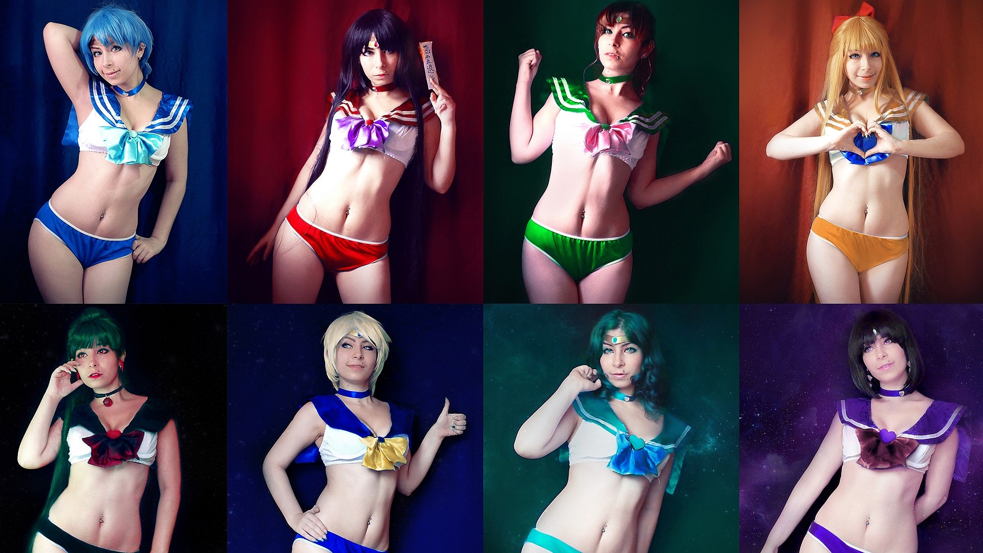 Wallpaper of Inner & Outer Sailor Scouts cosplay from Sailor Moon
