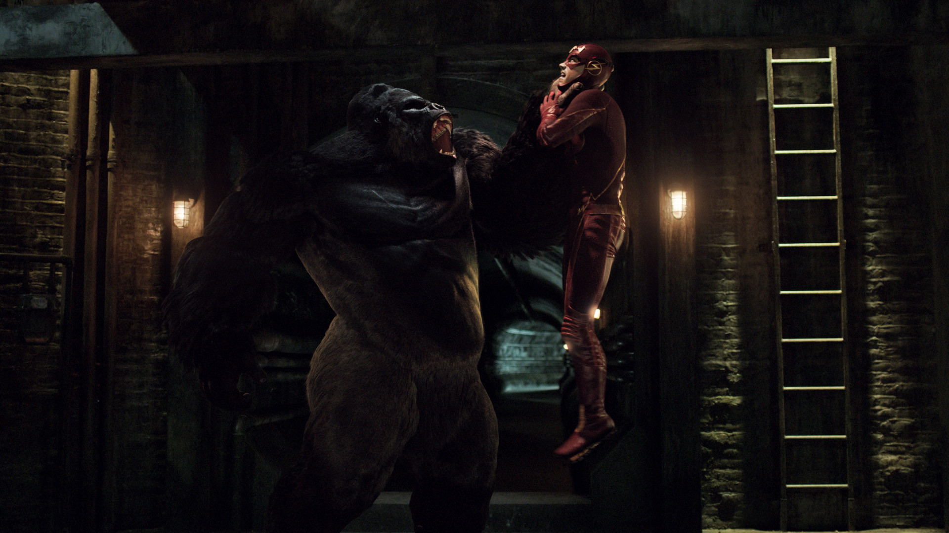 """Grodd and Grant Gustin in """"The Flash."""