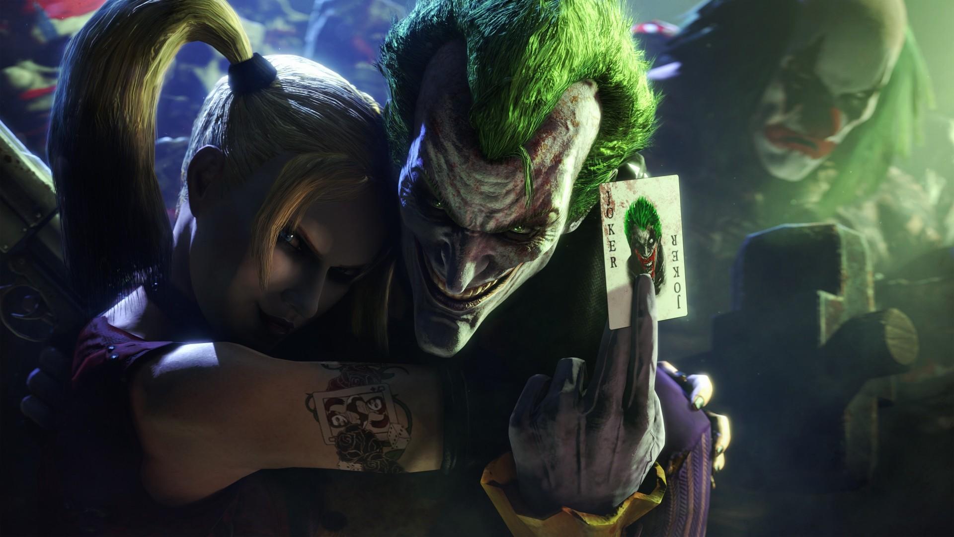 Wallpaper batman, arkham city, joker, harley quinn