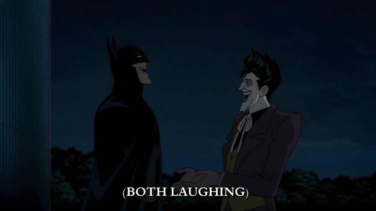 Batman Laughs With The Joker Batman The Killing Joke