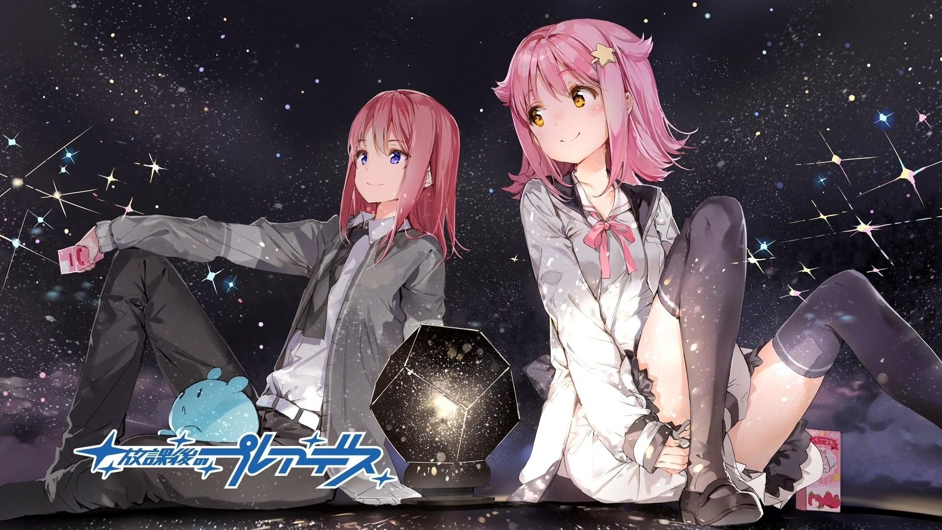 Anime – Wish Upon the Pleiades Blue Eyes Pantyhose Tie Yellow Eyes School  Uniform Pink Hair