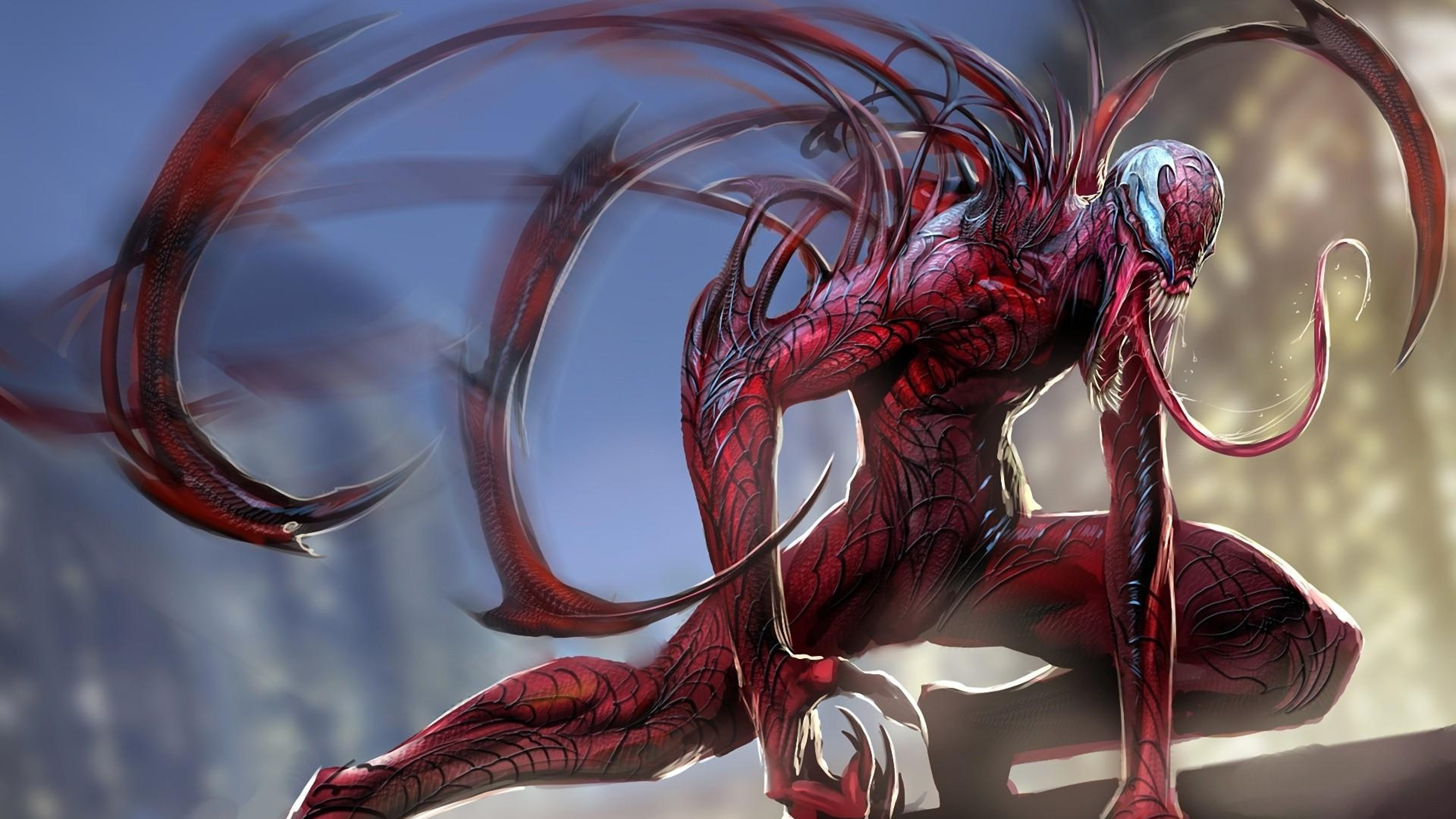 Preview wallpaper carnage, spider man, language, monster 3840×2160