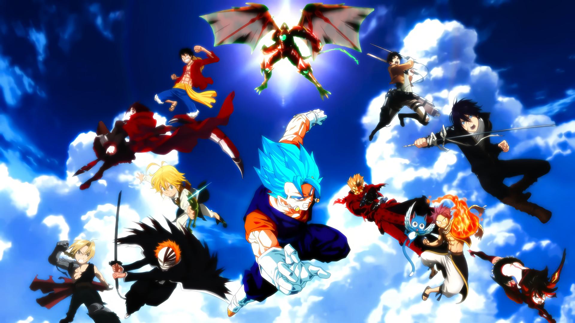 Anime – Crossover Natsu Dragneel Happy (Fairy Tail) Eren Yeager Yato ( Noragami)