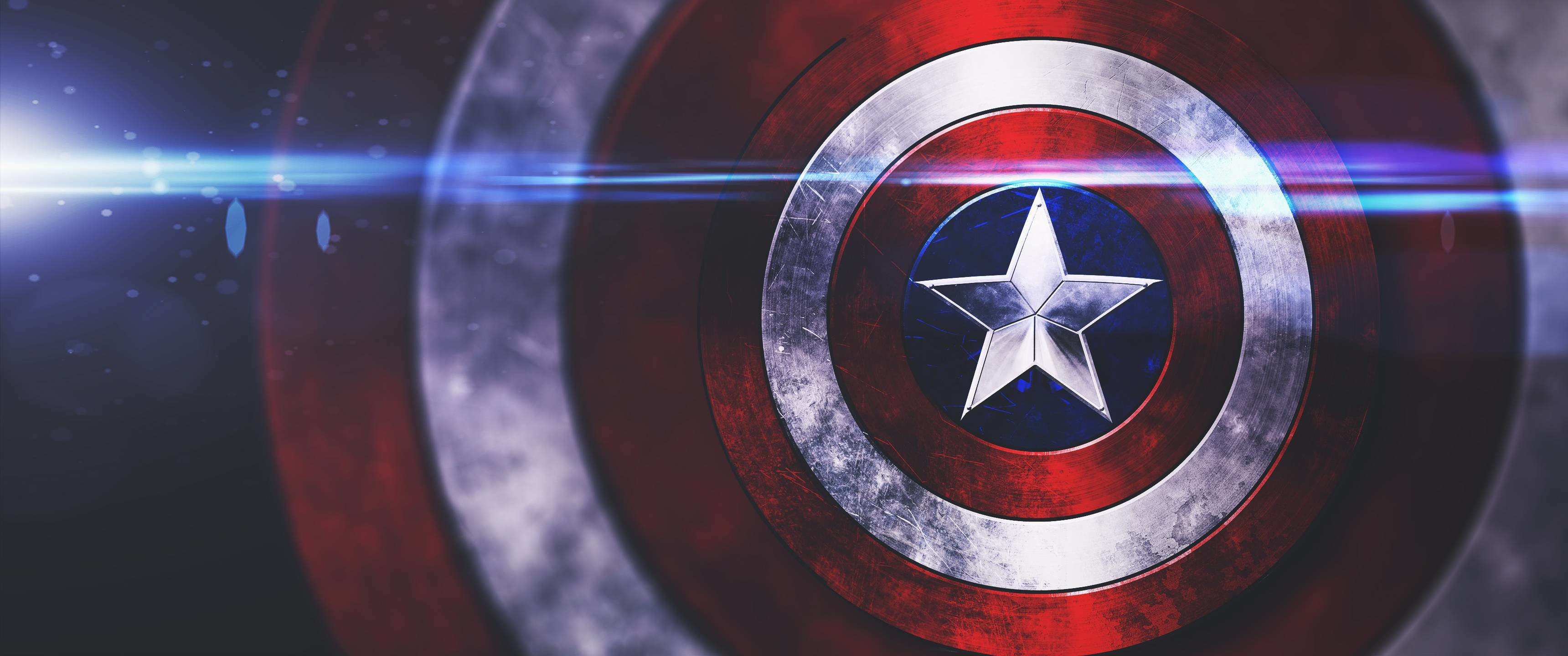 Captain America shield wallpaper I made in PS. [3440×1440]