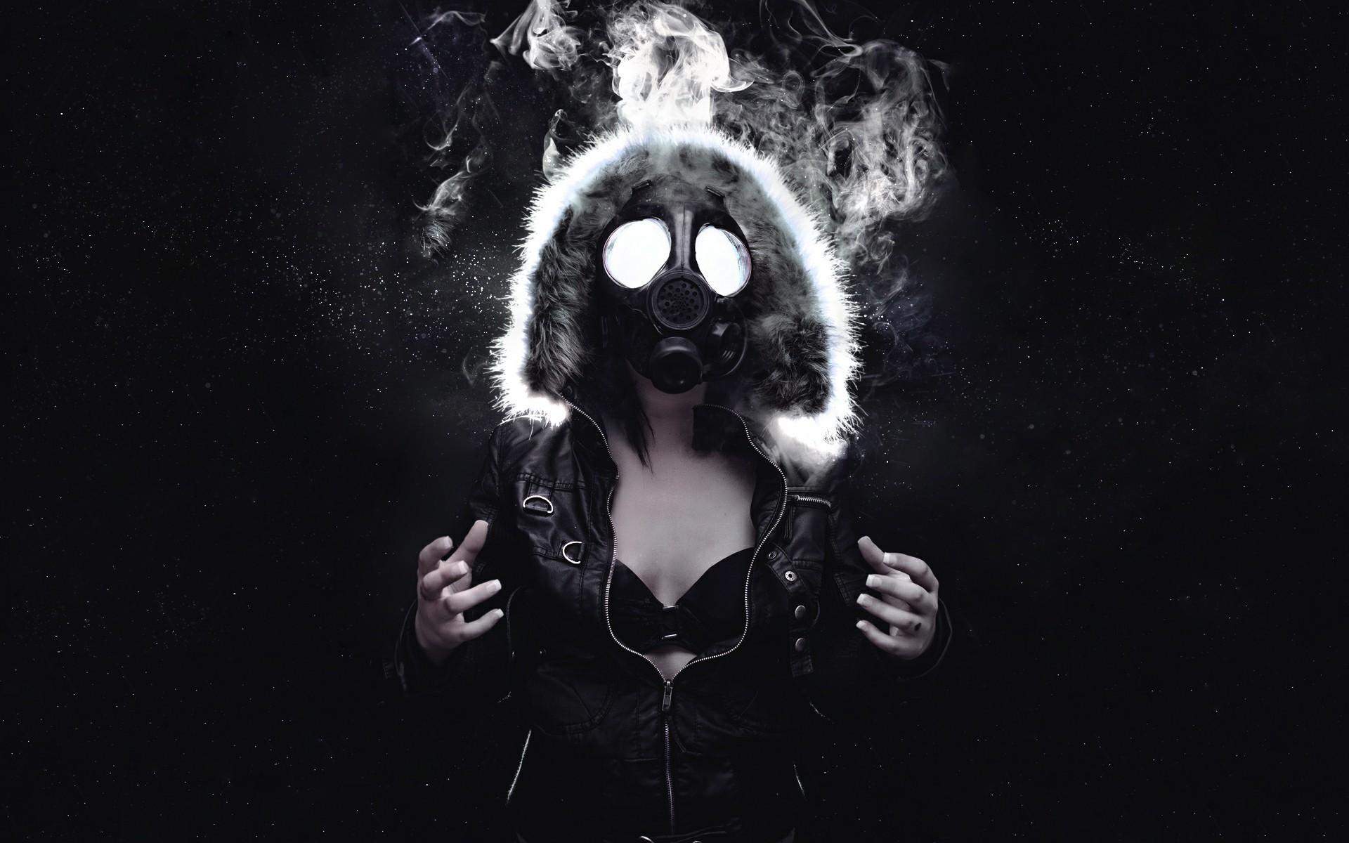 smoke, Gas Masks, Women, Black