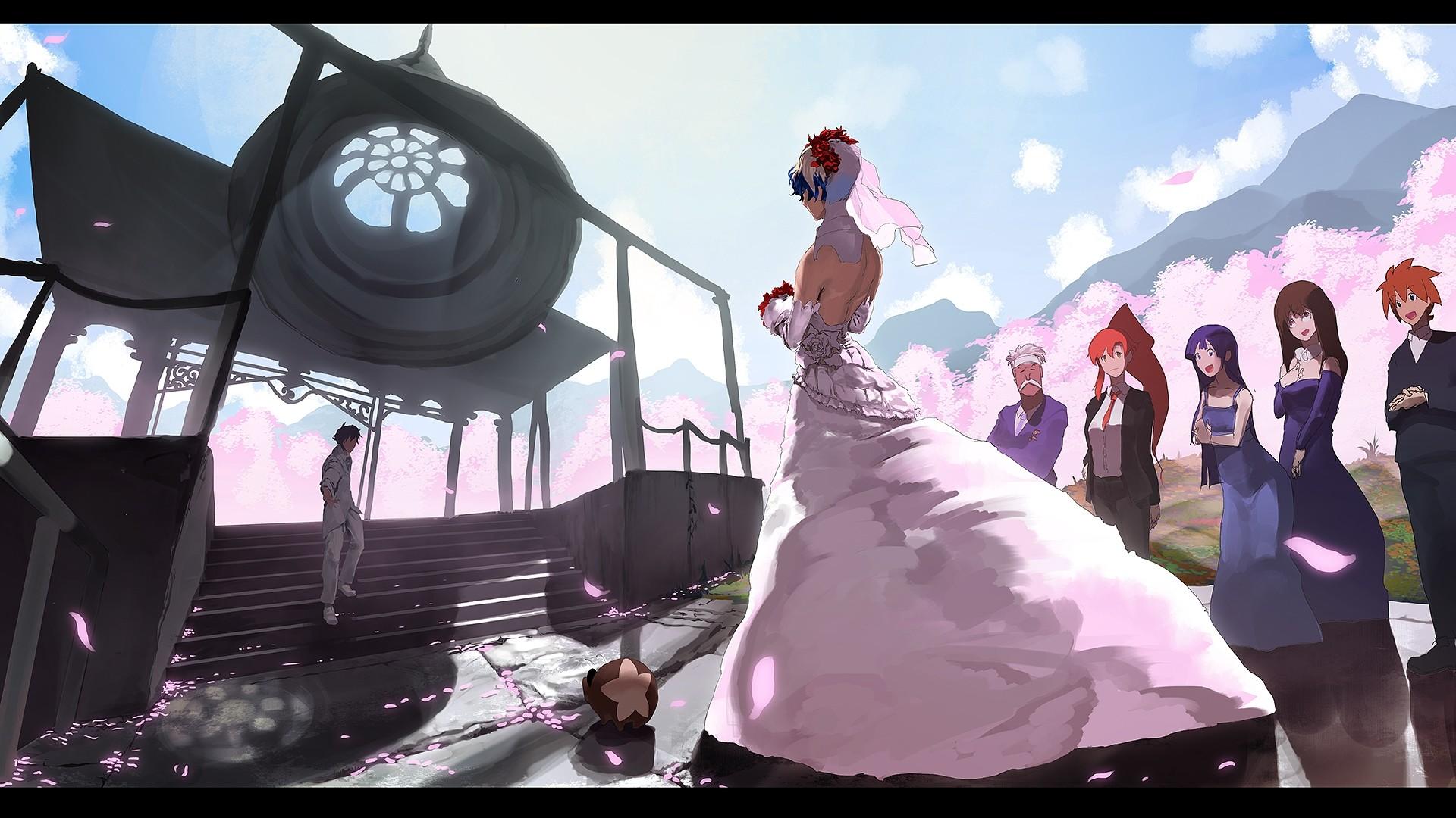 Yoko Littner, Sakura Petals, Wedding, Bouquet, Pixiv, Wedding Dress, Scenery