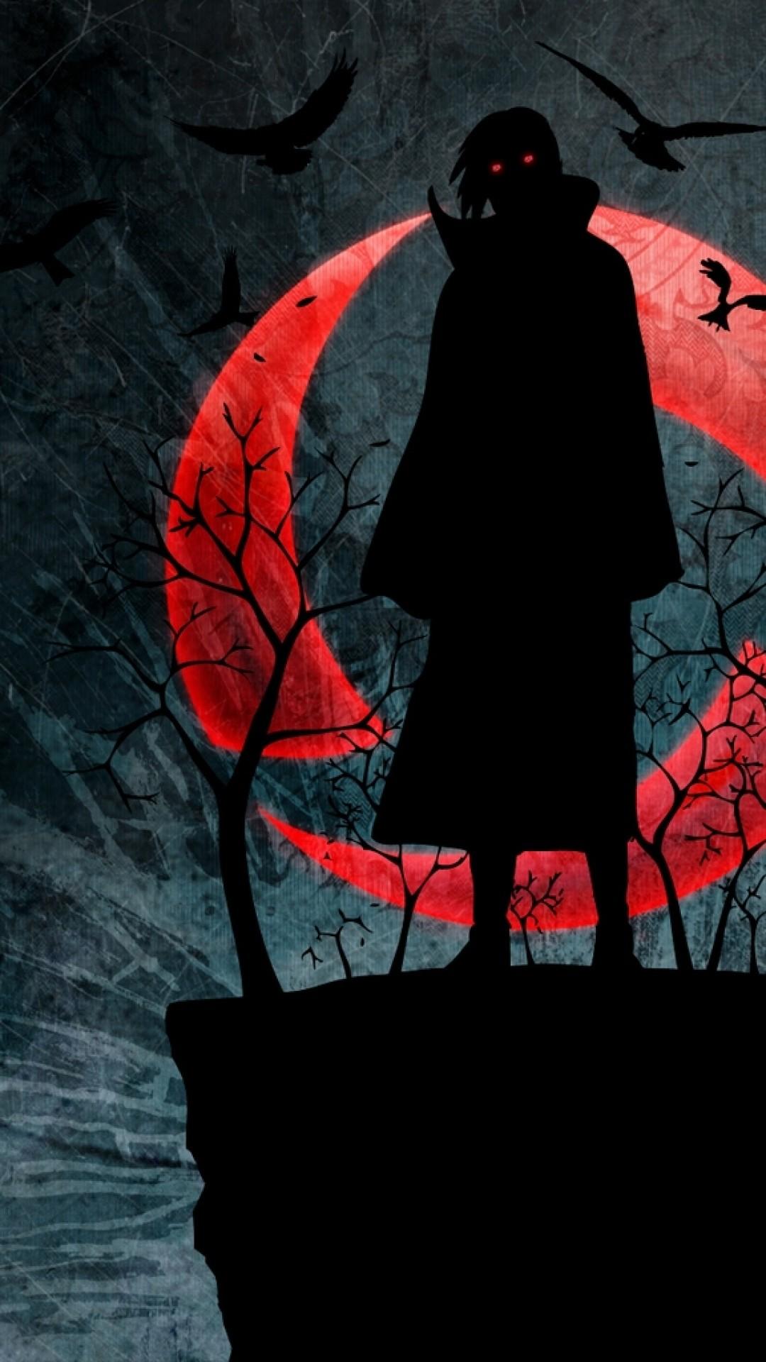 Wallpaper naruto, uchiha itachi, sharingan, figure, night, red  moon,