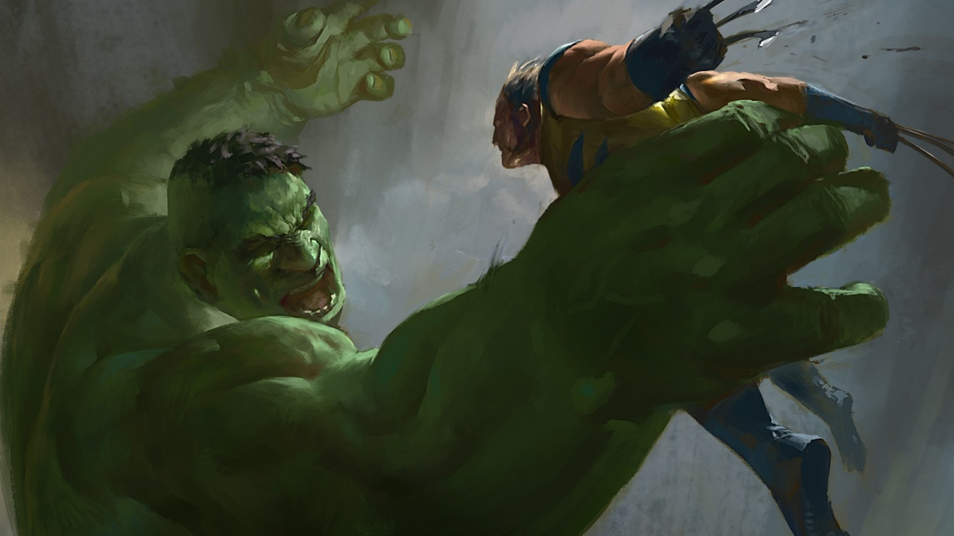 Preview wallpaper hulk, wolverine, x-men, marvel comics, art 1920×1080
