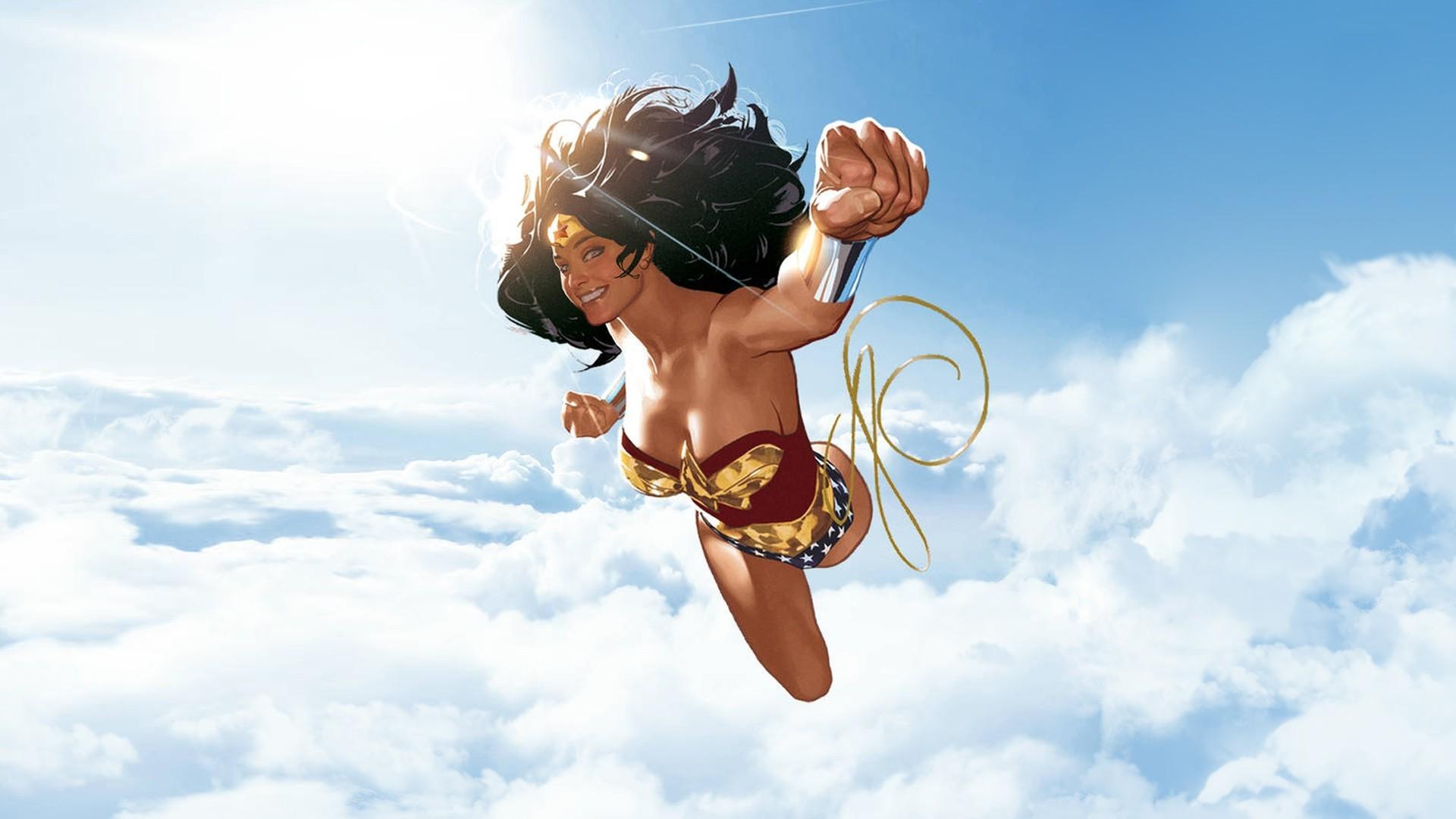 illustration, Wonder Woman, Superhero, Clouds, DC Comics, …