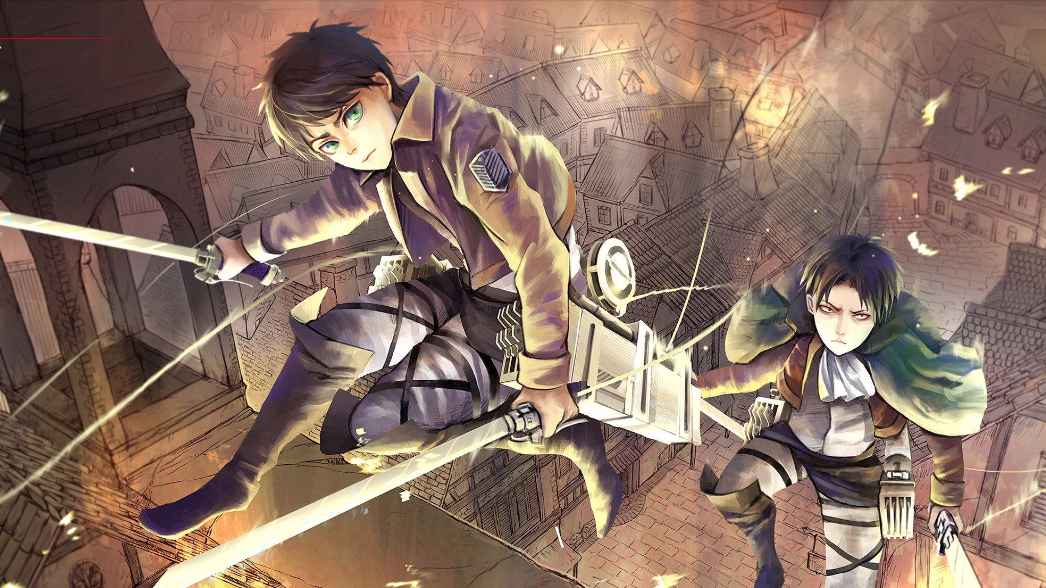 Preview wallpaper attack on titan, shingeki no kyojin, eren jaeger, anime,  art