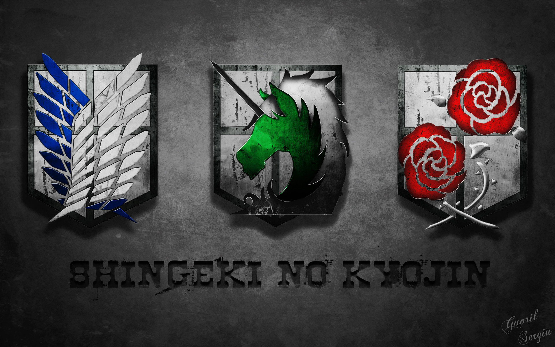 Attack on Titan Shingeki no Kyojin Emblem Logo Anime HD Wallpaper Desktop  PC Background