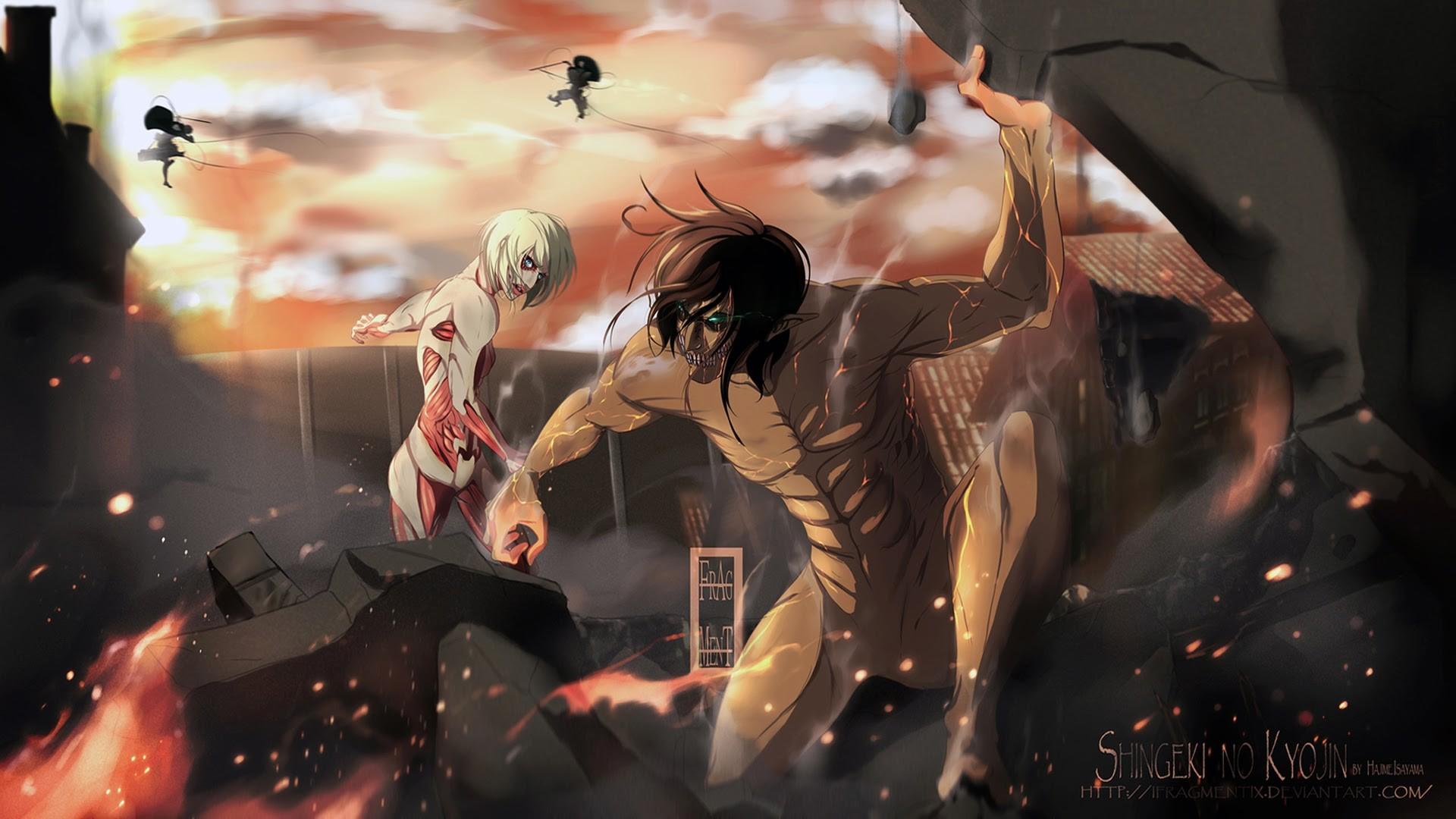 Attack On Titan Wallpaper 1080p Eren Rogue titan vs female titan