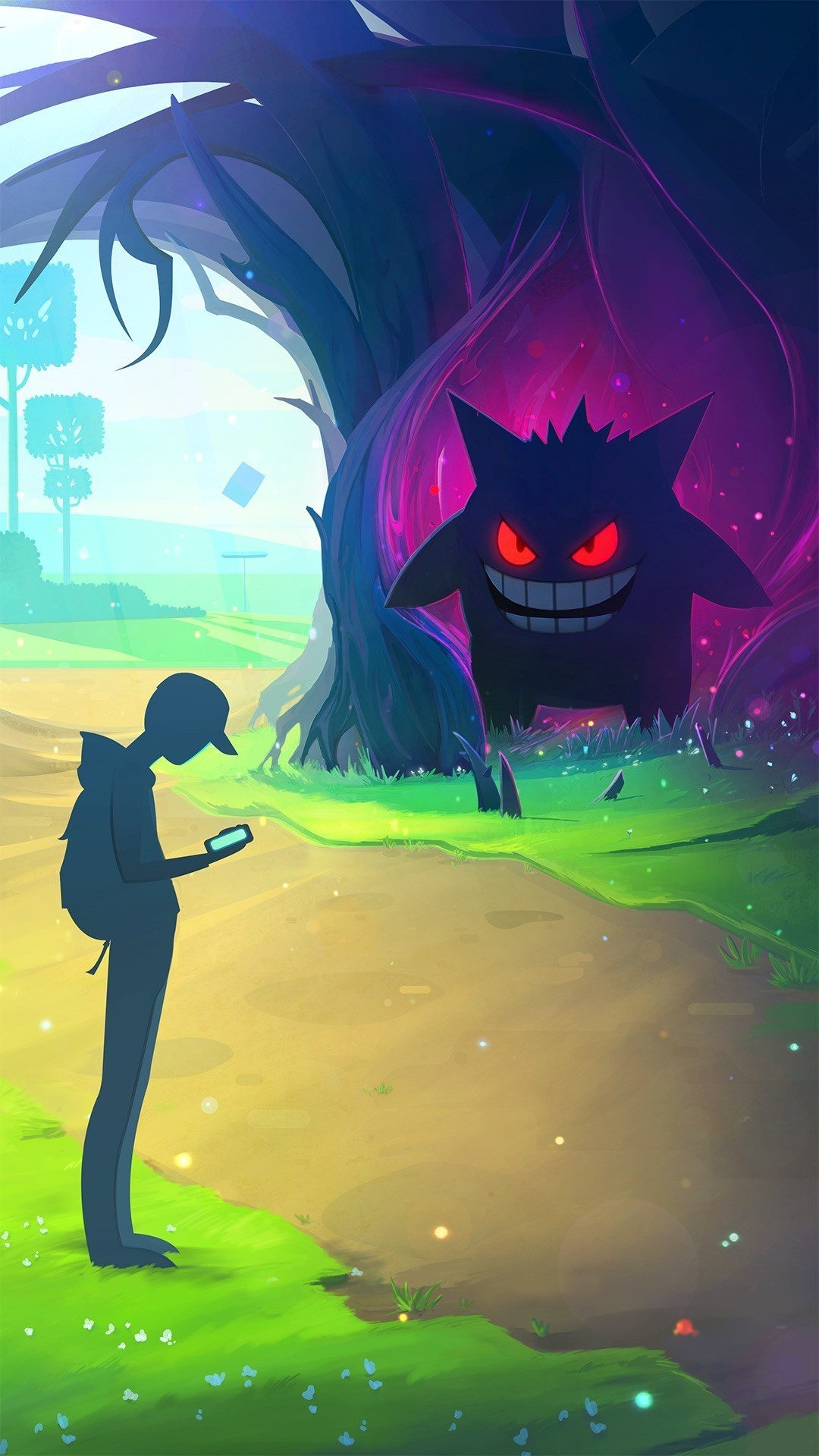 A trainer checks his Nearby radar while Gengar emerges, eyes glowing red,  from the ghostly bowels of an ancient Pokémon tree.