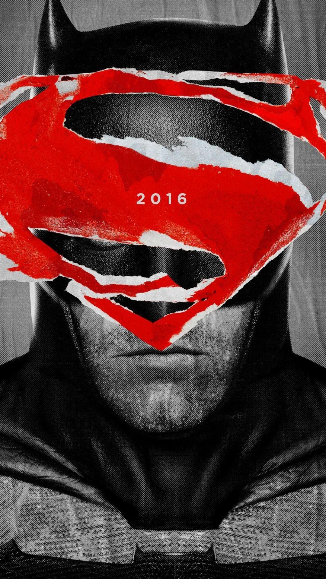 Batman face with superman logo wallpaper background.