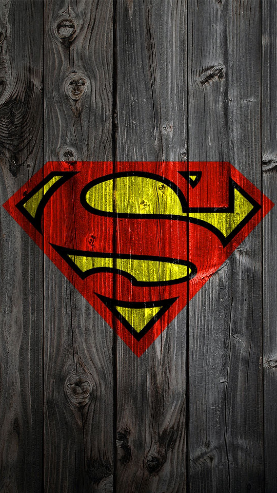 iphone wallpaper – superman logo on wood