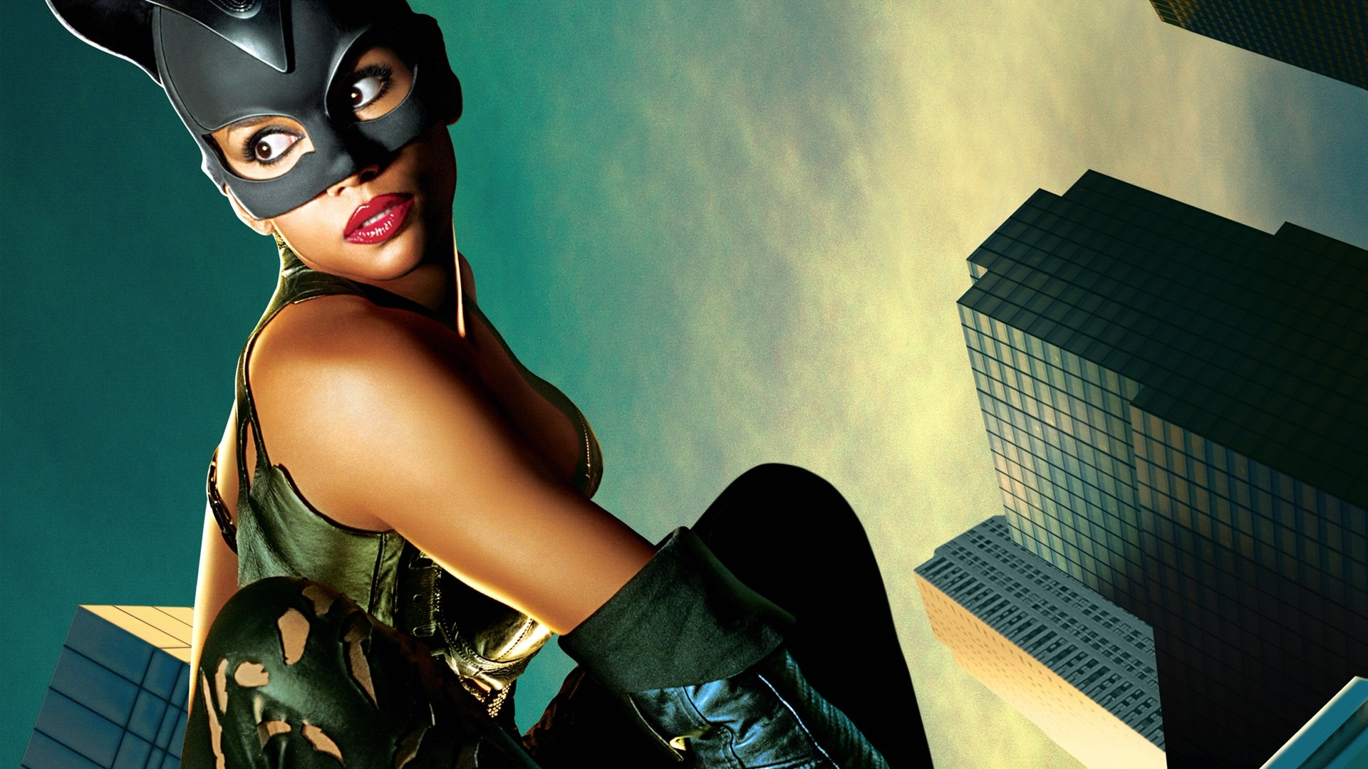 Preview wallpaper catwoman, halle berry, mask, cat, sky, buildings, patience
