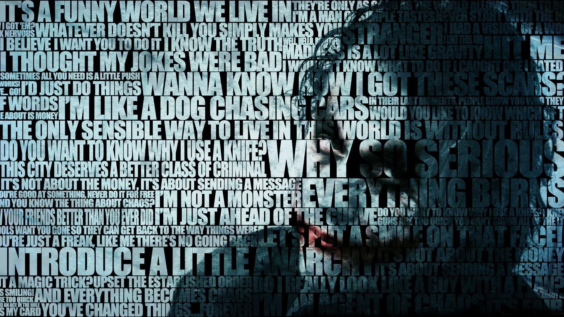 Batman Quotes The Joker Typographic Portrait Typography Wallpaper
