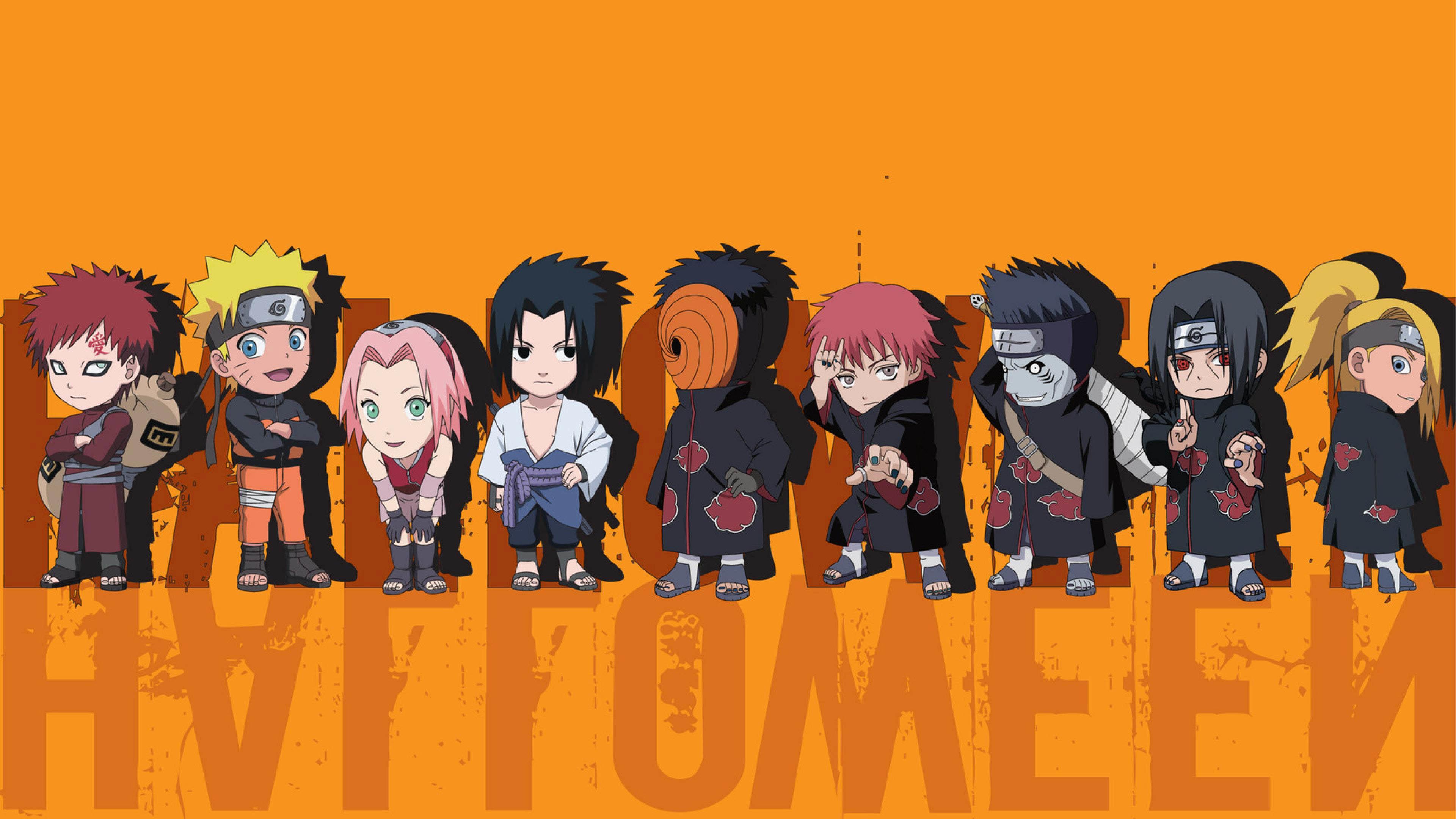 Naruto Mini Characters Halloween Art wallpaper