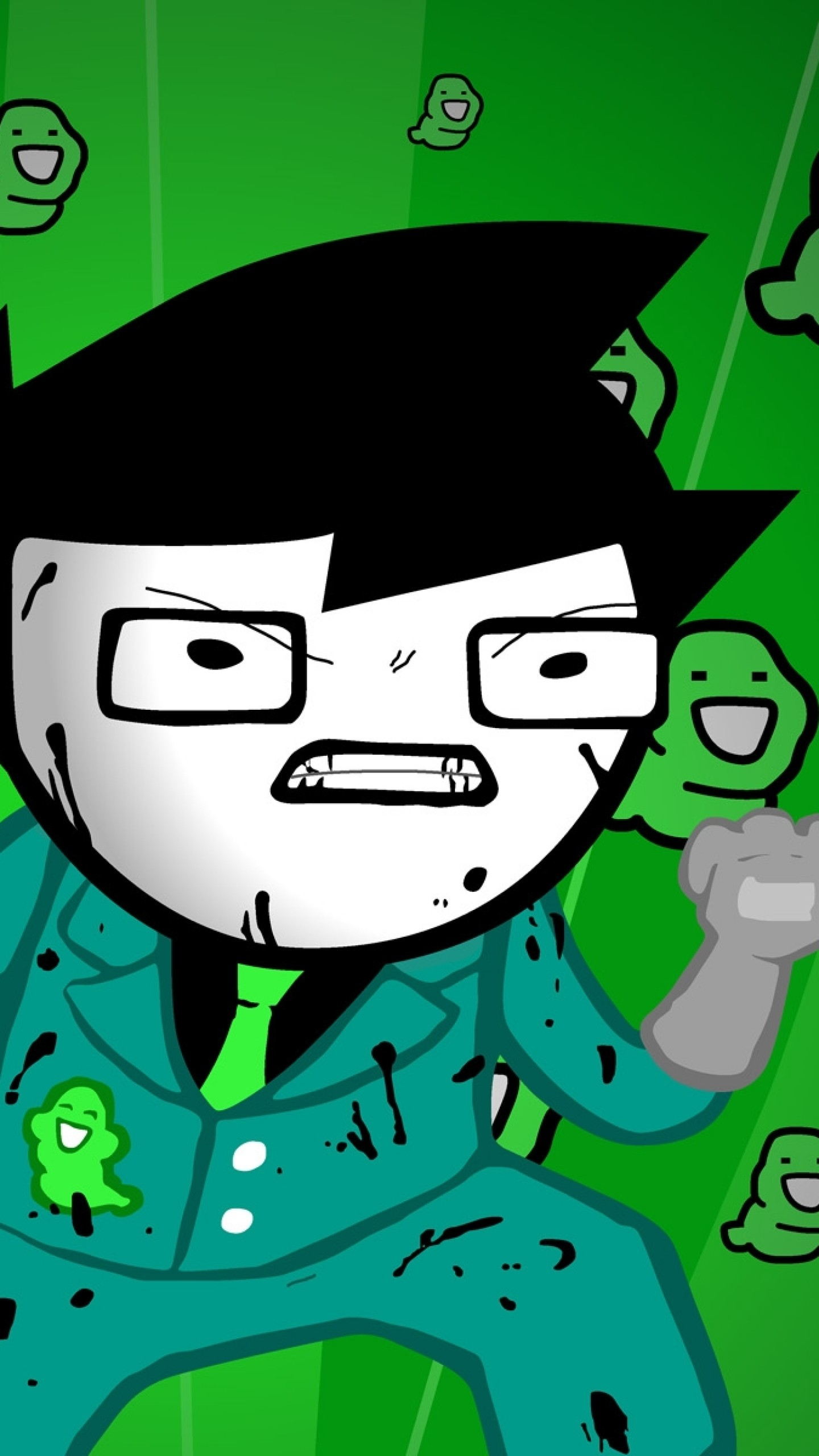 Wallpaper green, figure, aggression, style, homestuck