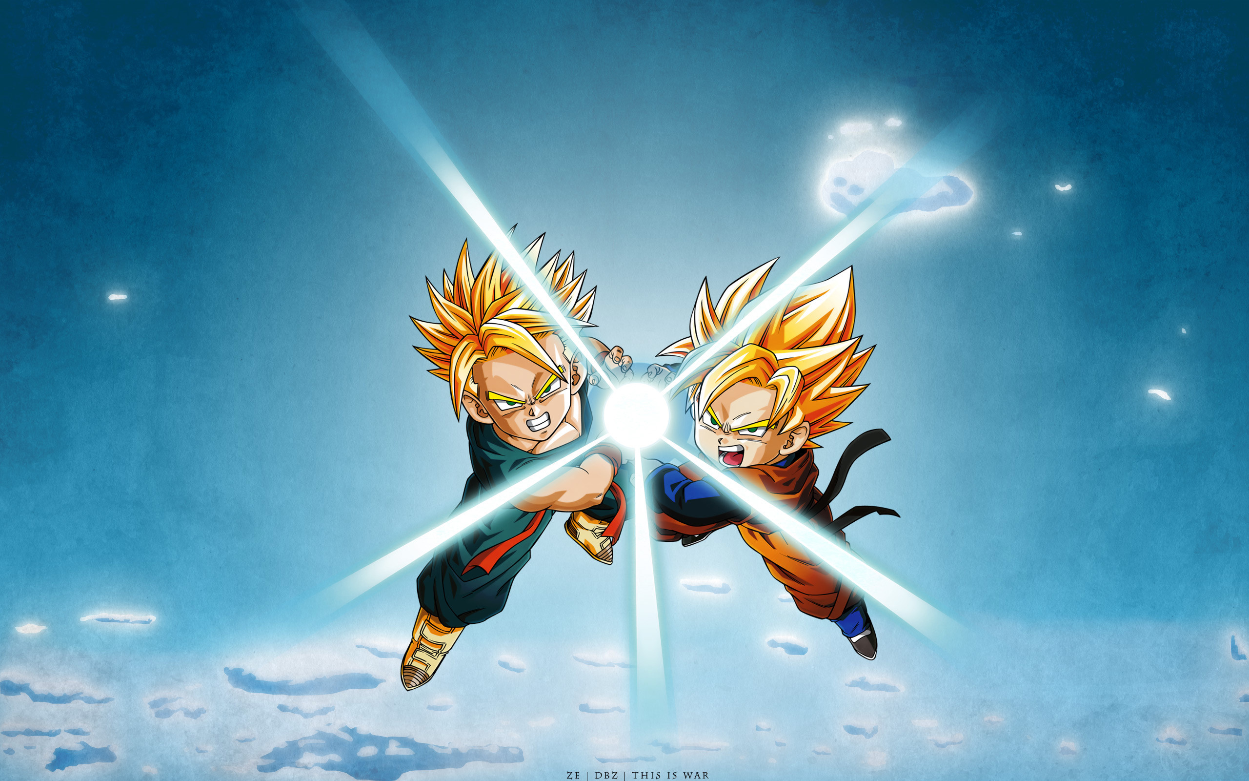 Attachment for Dragon Ball Z Wallpaper 19 of 49 – Goten and Trunks  Kamehameha