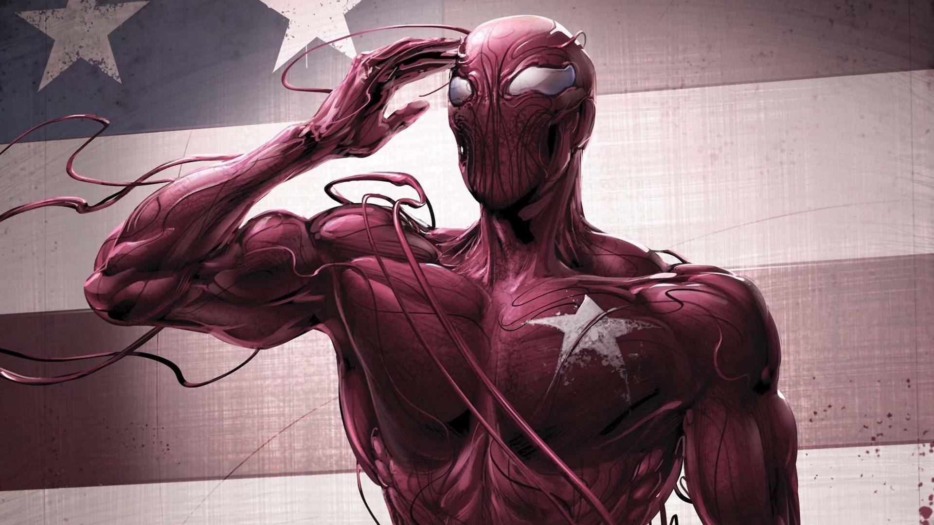 American flag carnage marvel comics spiderman logo wallpaper