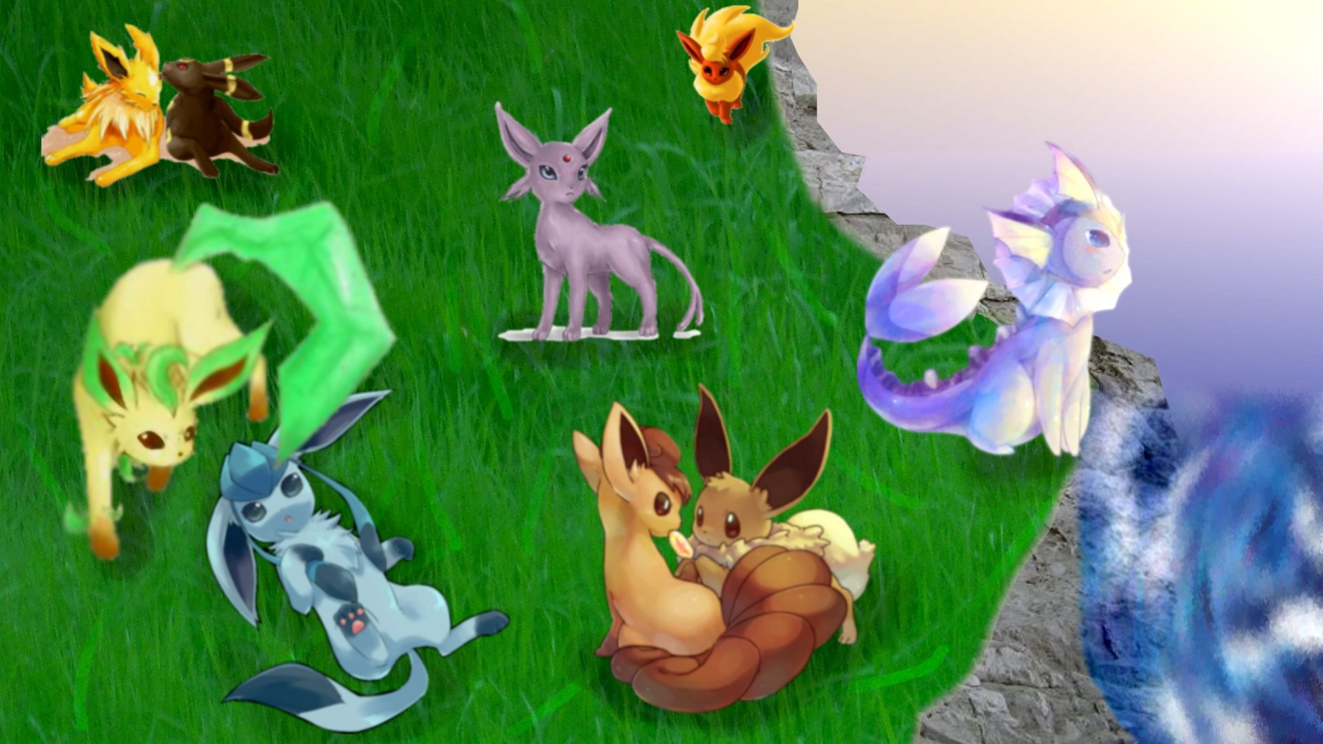 … Eevee and his evolutions with Vulpix by Valyli