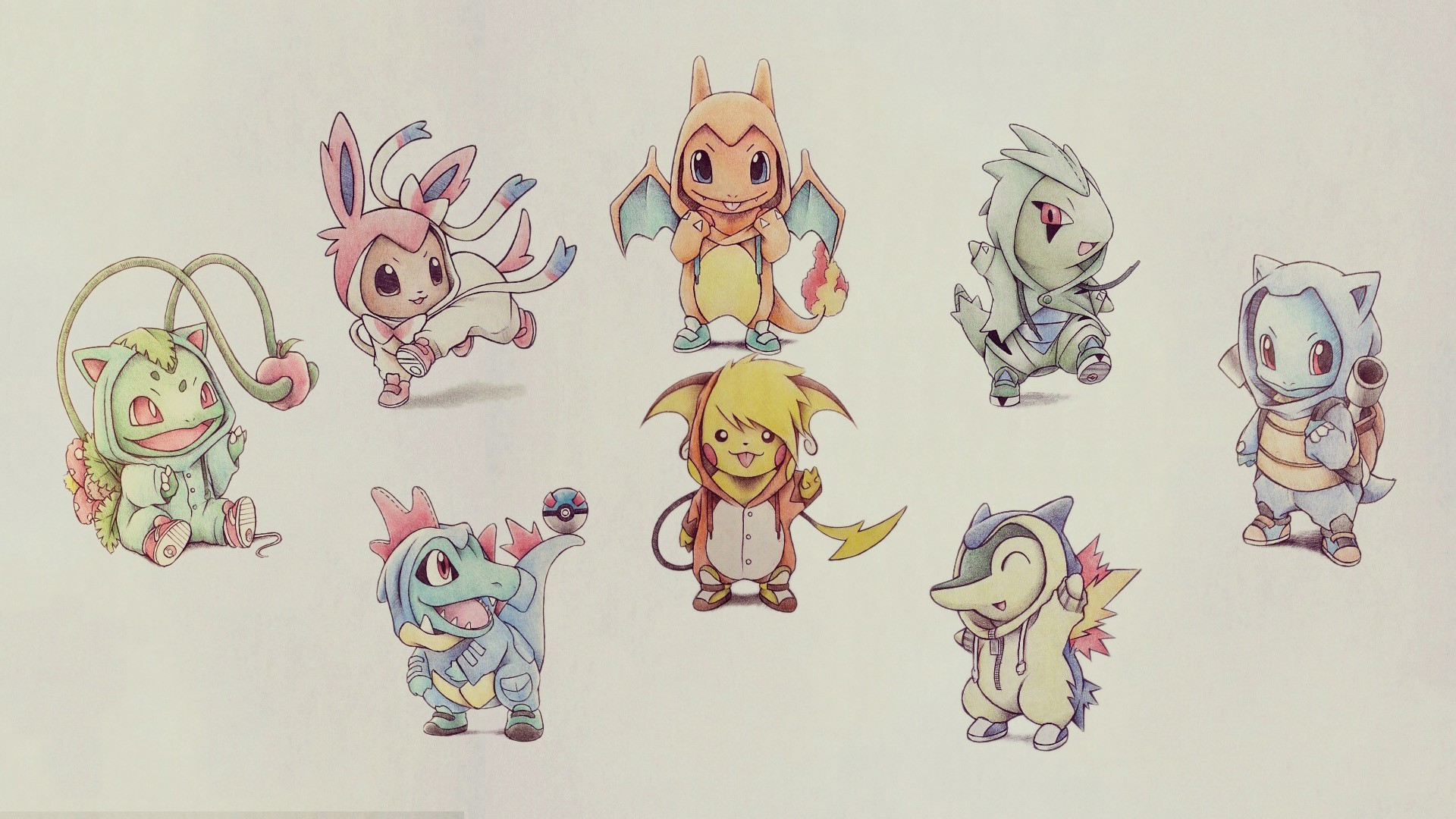 Wallpaper of basic Pokemon wearing costumes of their evolutions!
