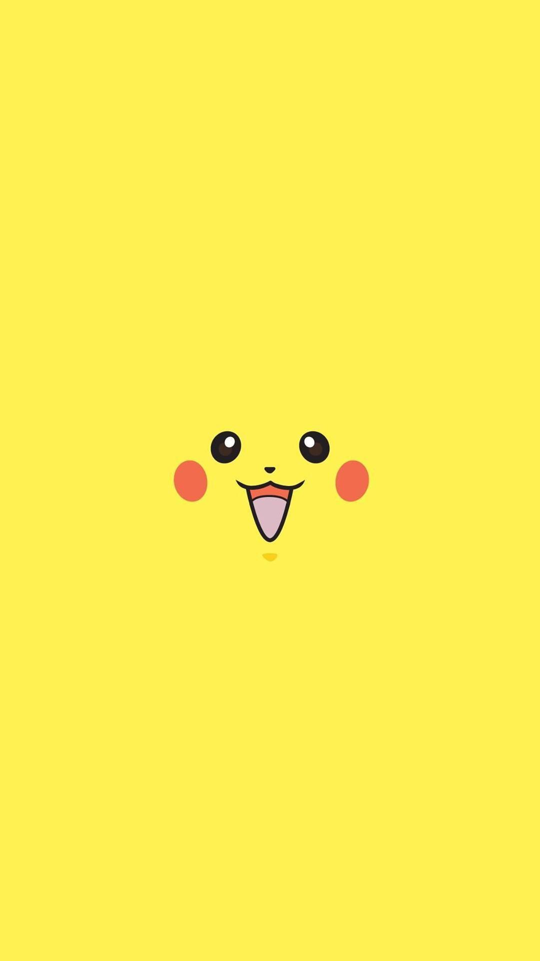 Pikachu Pokemon Minimal Flat iPhone 8 wallpaper
