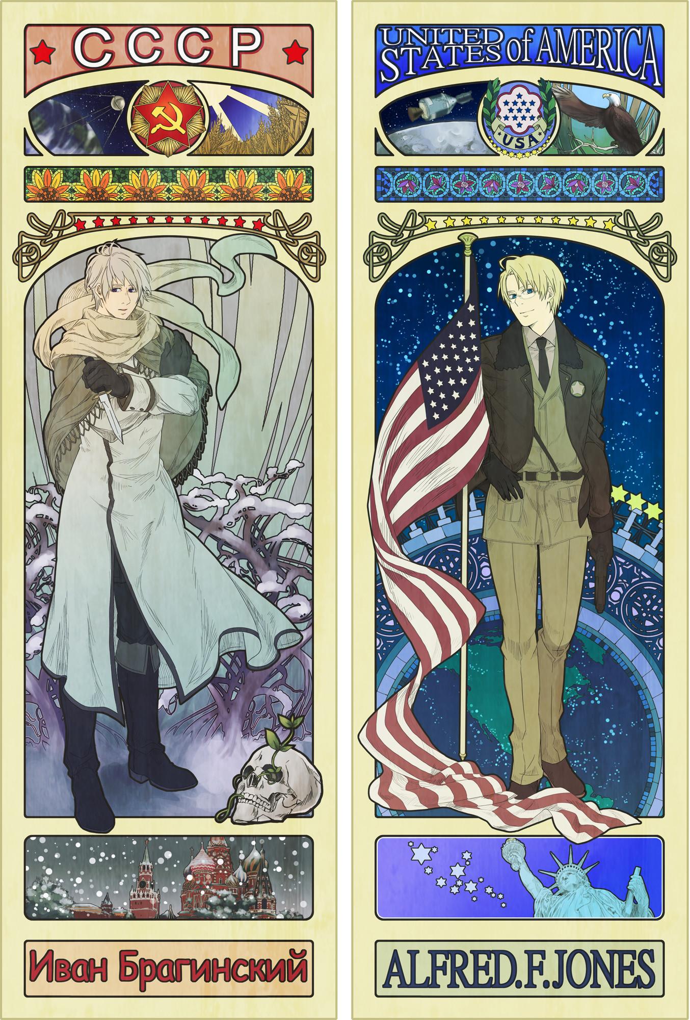 Mucha-inspired America & Russia Posters for Hetalia